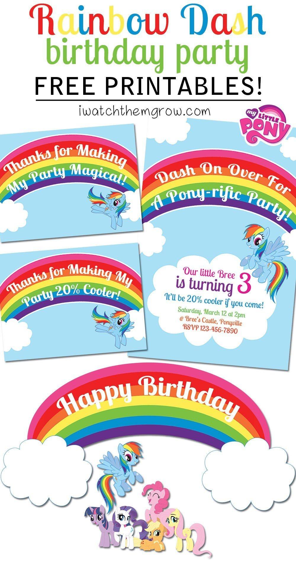 My Little Pony Rainbow Dash Birthday Party Printables | Aniversare 7 - Free My Little Pony Party Printables