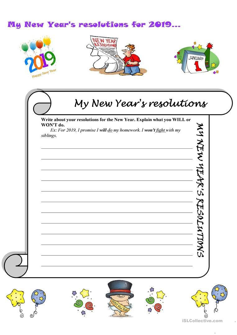 My New Year's Resolutions Worksheet - Free Esl Printable Worksheets - Free New Year's Resolution Printables