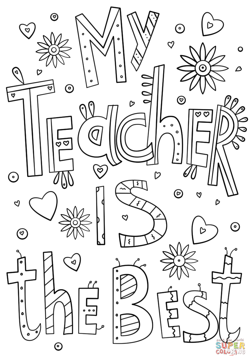 My Teacher Is The Best Doodle Coloring Page From Teacher - Free Printable Teacher Appreciation Cards To Color