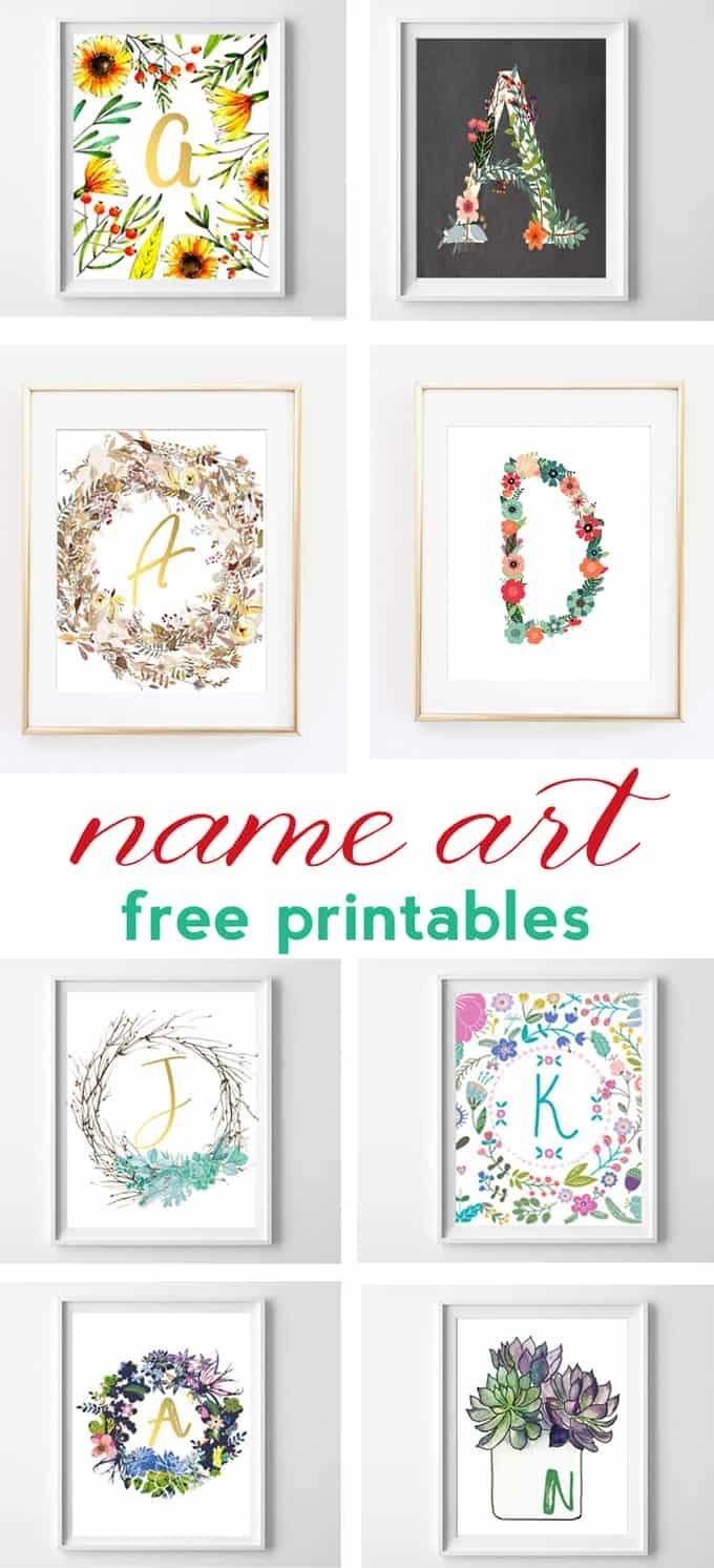 Name Art And Alphabet Printables {Free Printable Art} - Free Name Printables