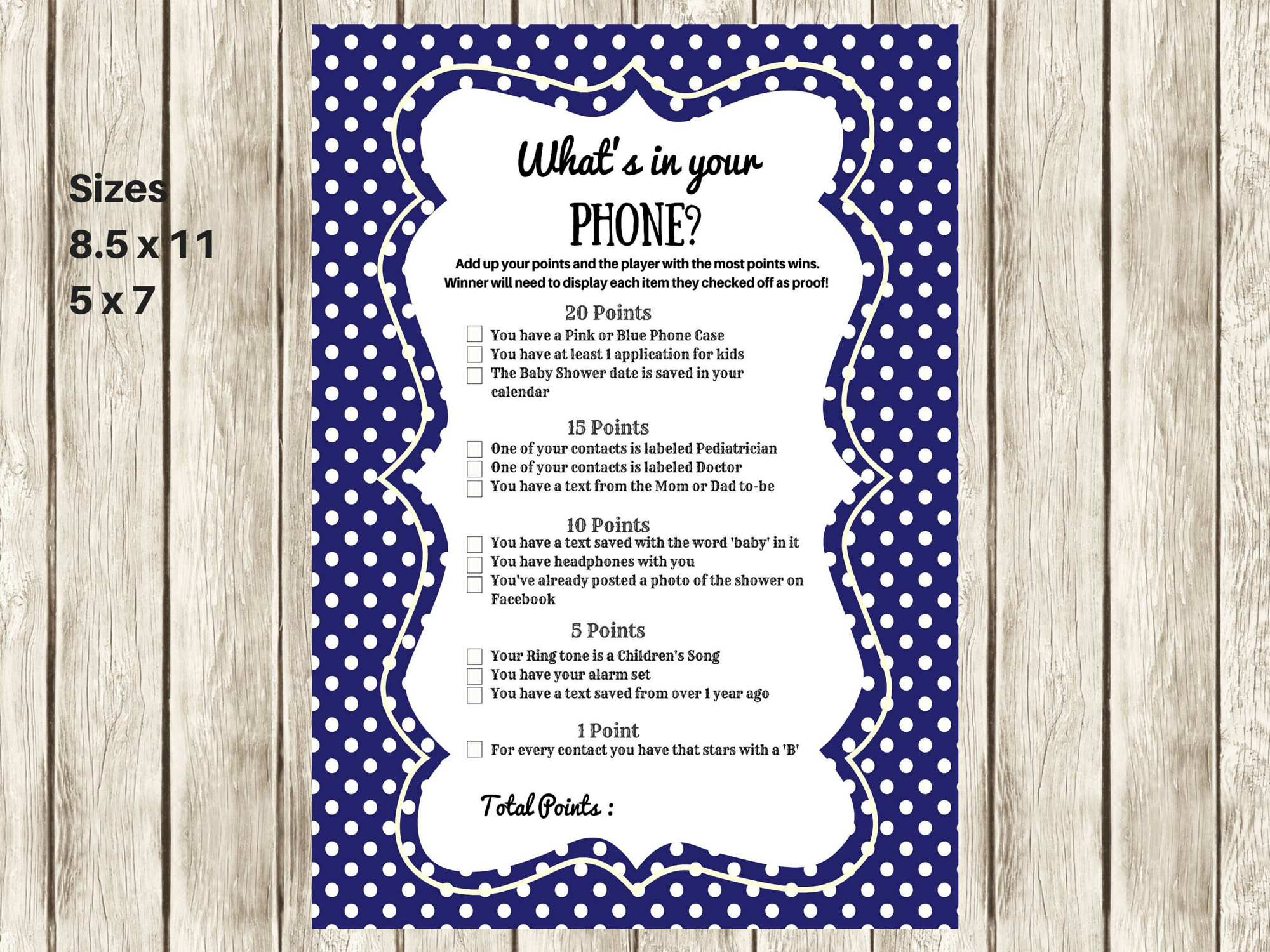 Navy Modern What's In Your Cellphone Baby Shower Games - What's In Your Phone Baby Shower Game Free Printable