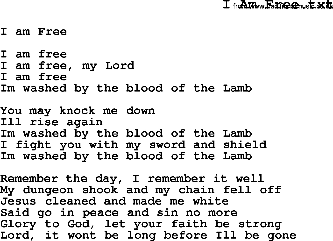 Negro Spiritual/slave Song Lyrics For I Am Free - Free Printable Song Lyrics