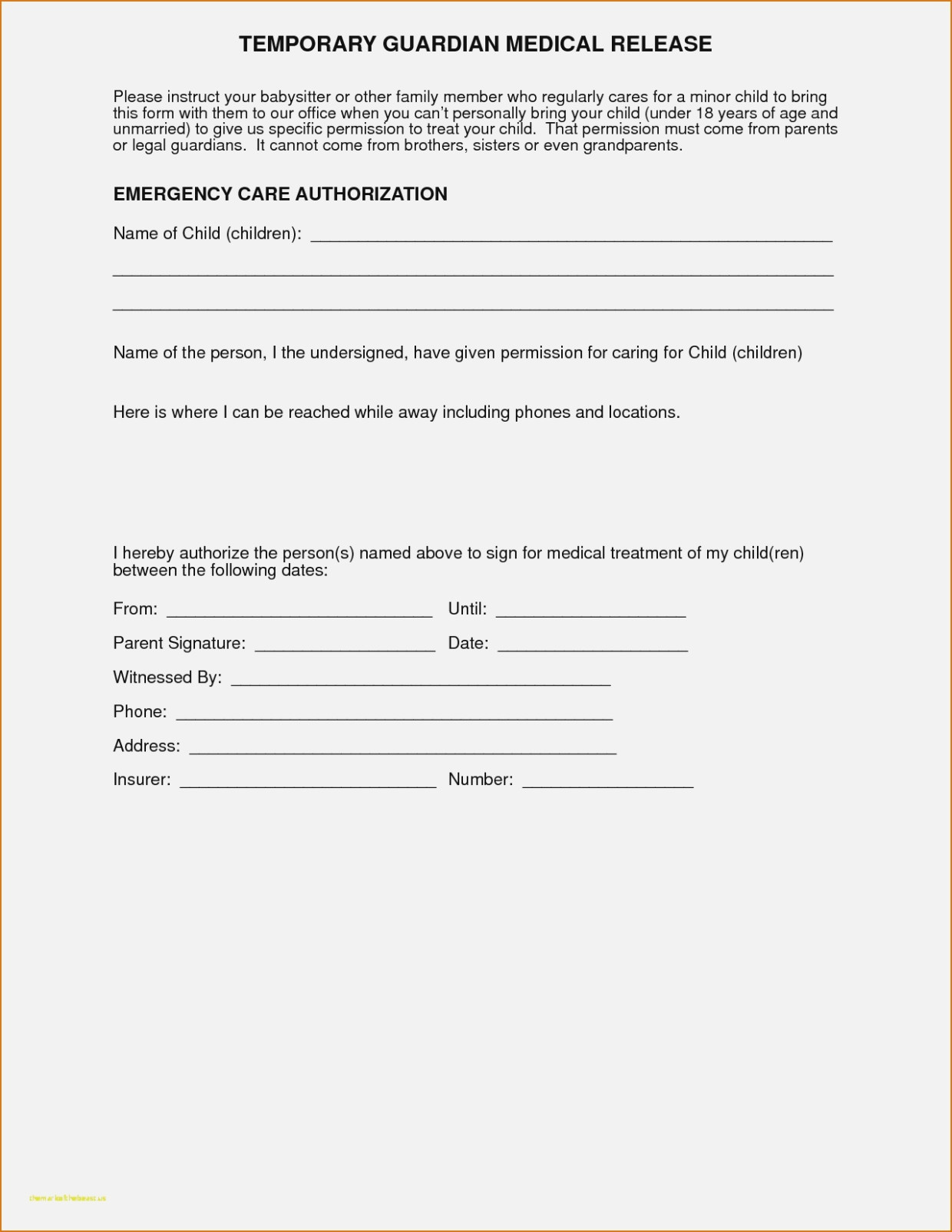 New Free Printable Child Medical Consent Form | Downloadtarget - Free Printable Medical Release Form