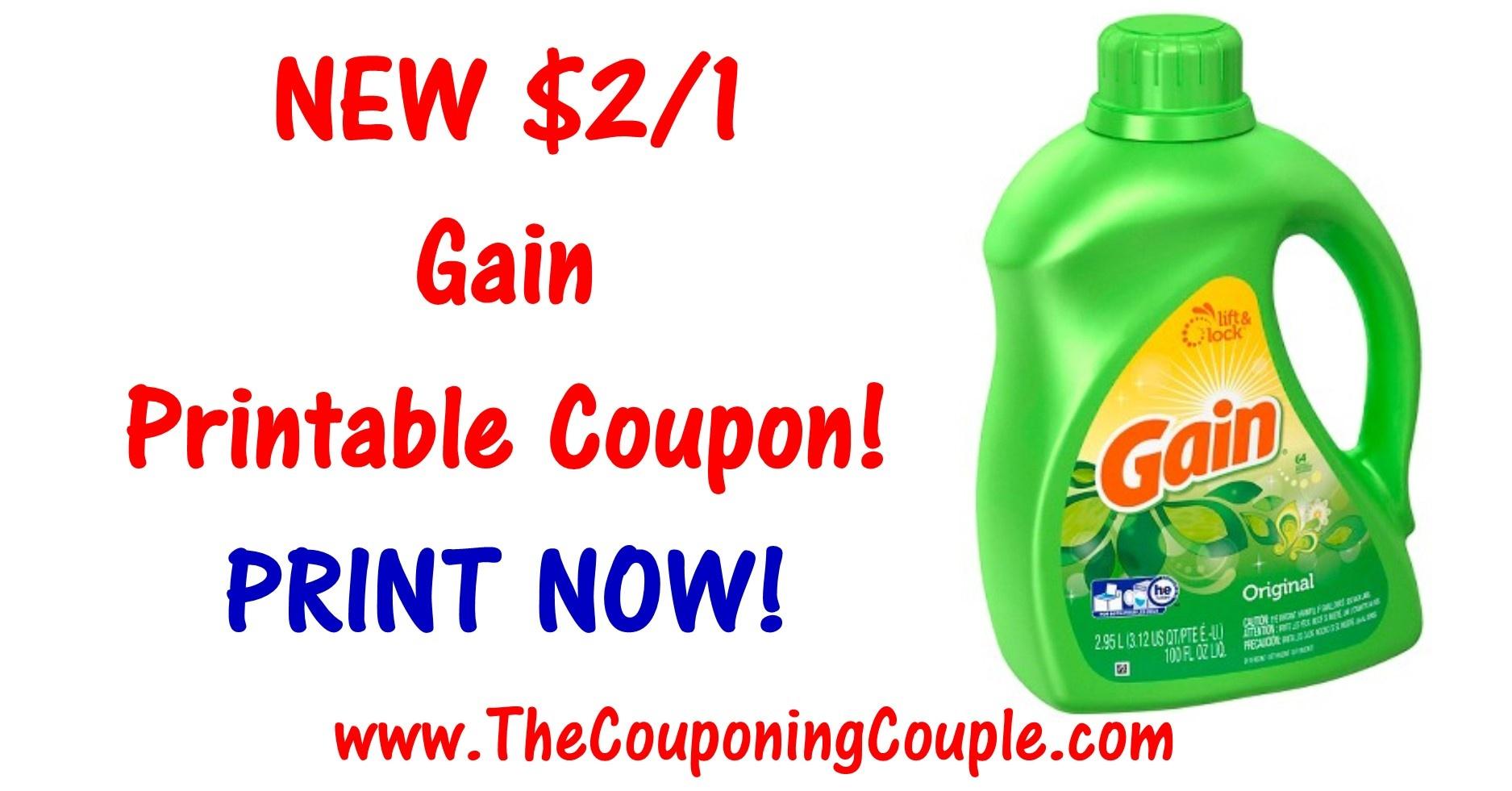 New Gain Printable Coupon ~ Print $2/1 Coupon Now! - Gain Coupons Free Printable