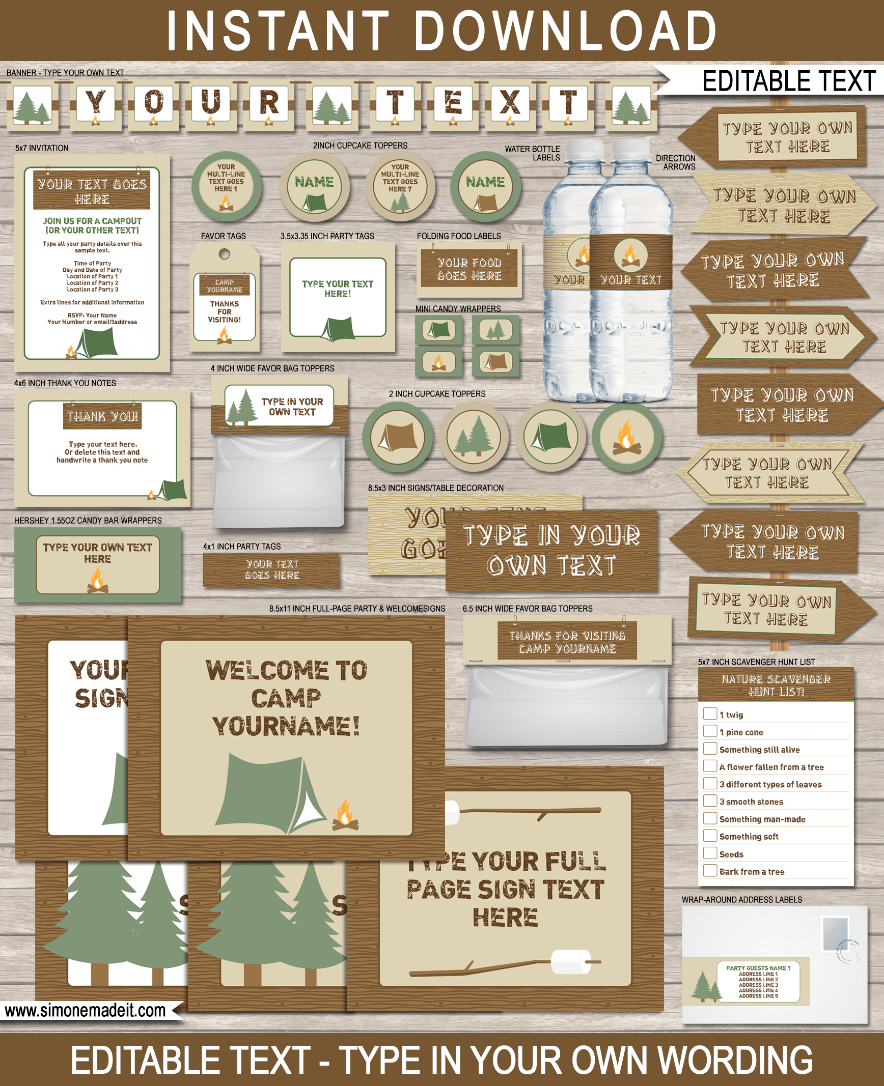 New Large Printable Camping Party Signs And Backdrops - Free Camping Party Printables