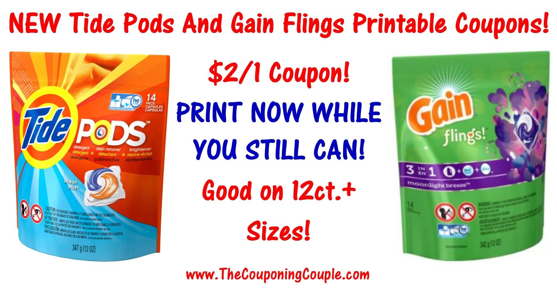 New Tide Pods Printable Coupon & Gain Flings Printable - Gain Coupons Free Printable