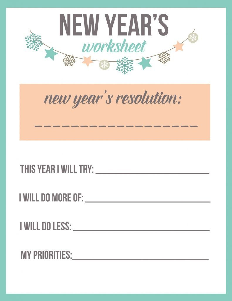 New Year's Resolution Worksheet Printable   Party Ideas   New Years - Free New Year's Resolution Printables