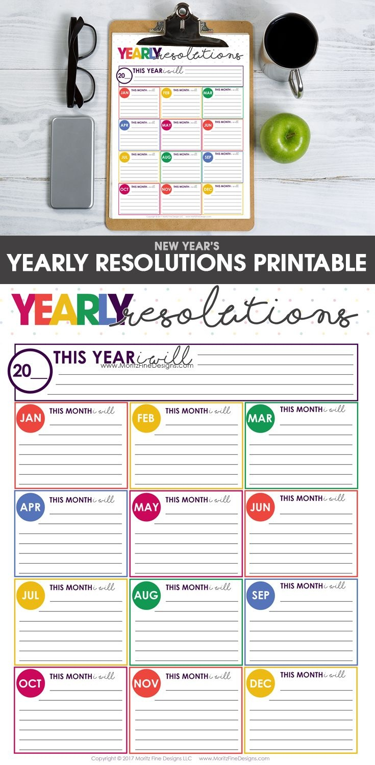 New Years Resolutions Goals Sheet   Printables Downloads   Goals - Free New Year's Resolution Printables