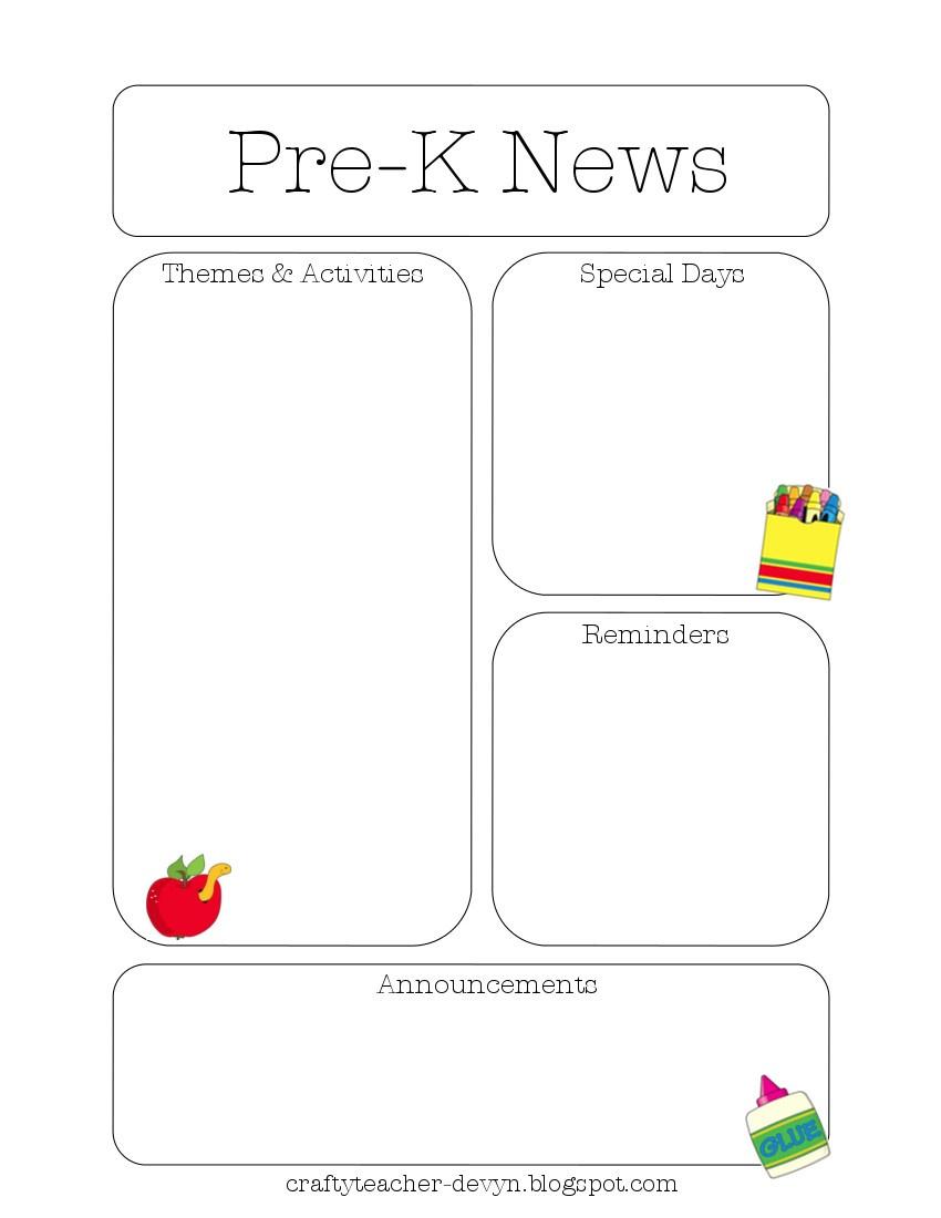 Newsletter Templates - Free Printable Kindergarten Newsletter Templates