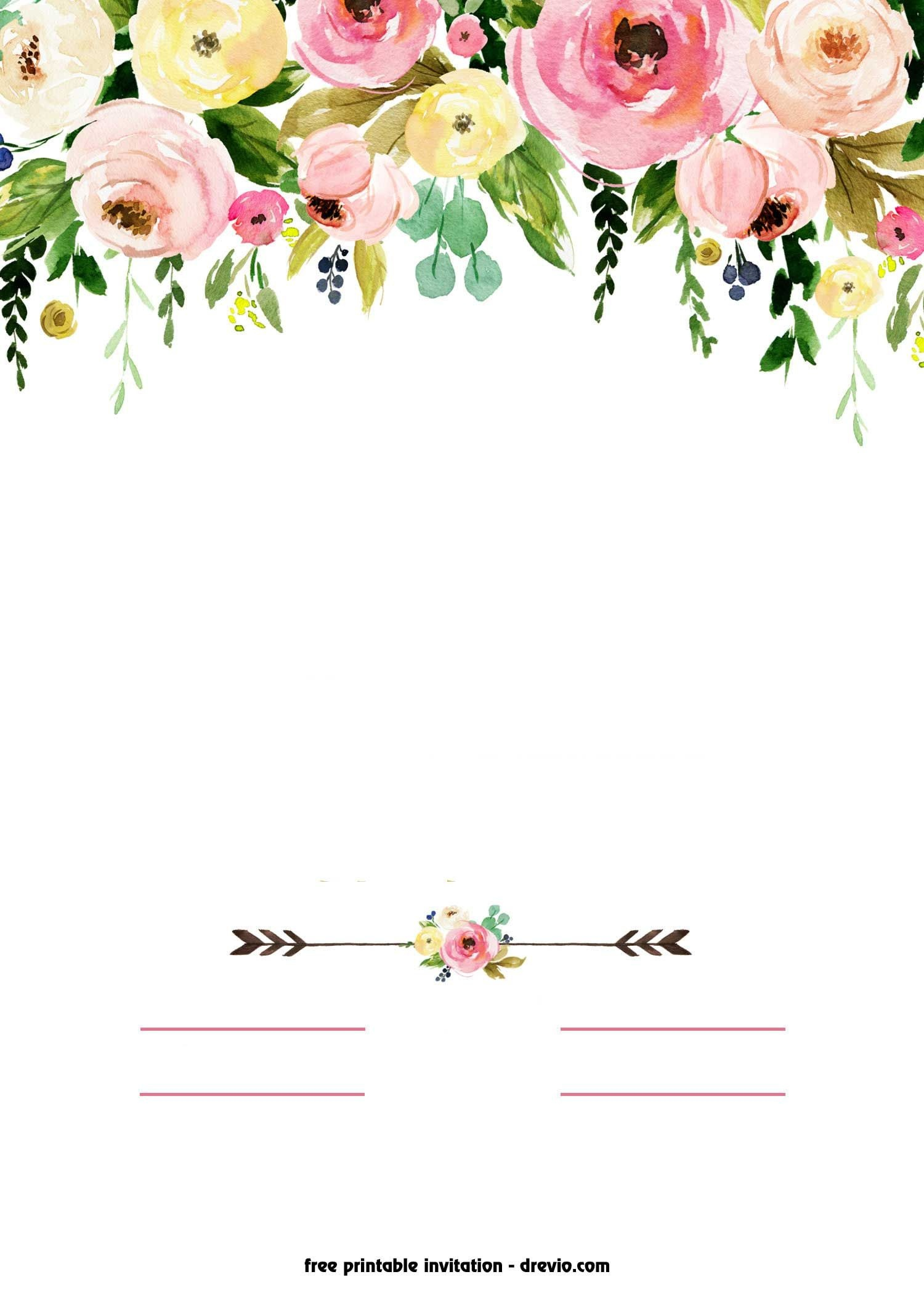 Nice Free Printable Boho Chic Flower Baby Shower Invitation Template - Free Boho Baby Shower Printables