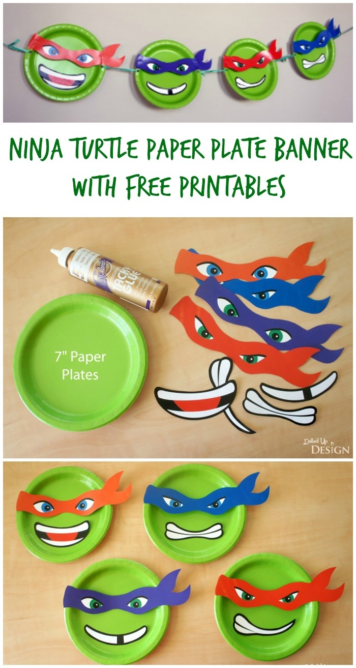 Ninja Turtle Paper Plate Banner With Free Printables - Free Ninja Turtle Printables