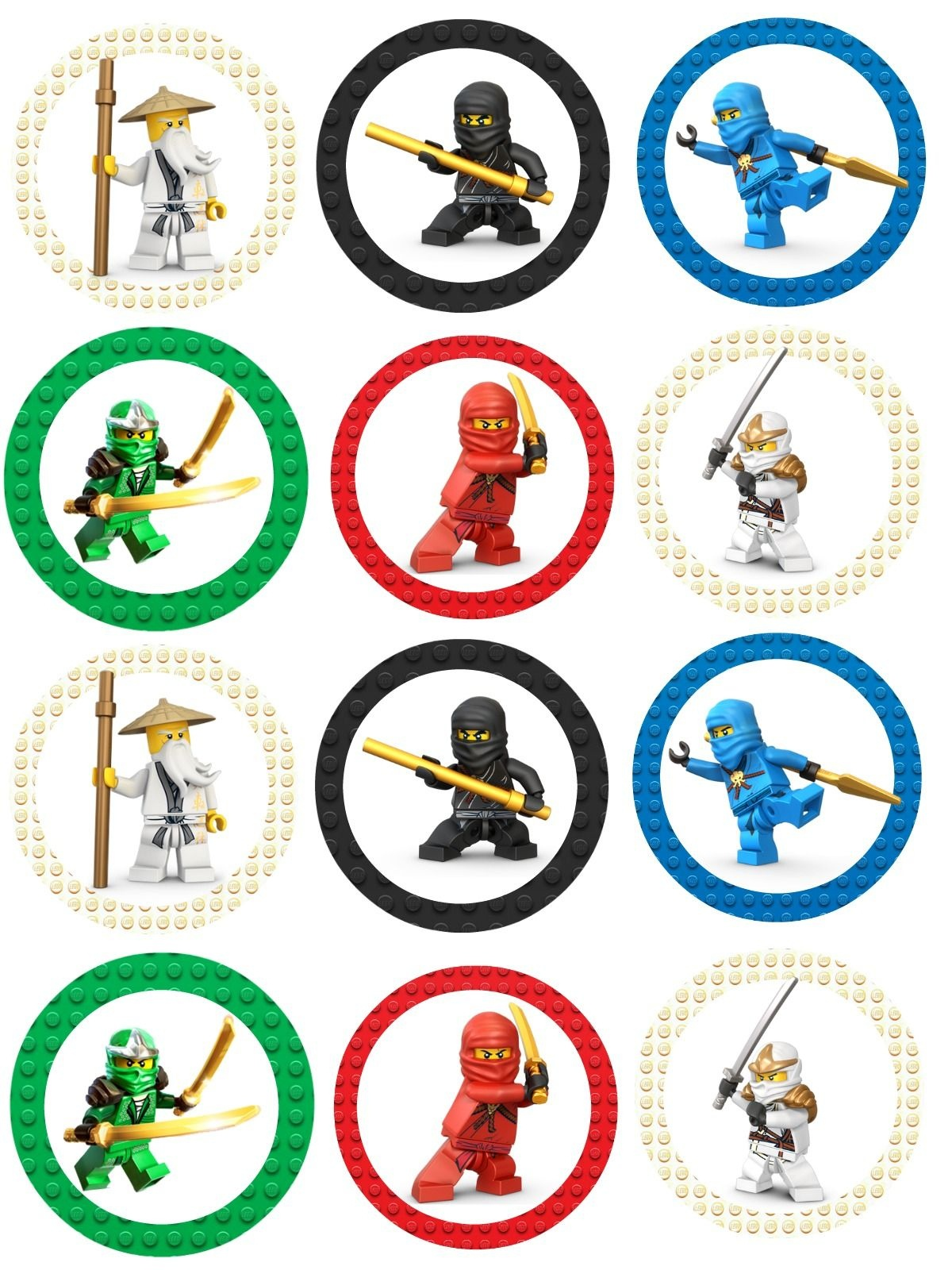 Ninjago Cupcake Toppers | Lego Ninja Printables | Lego Birthday - Free Ninjago Printables