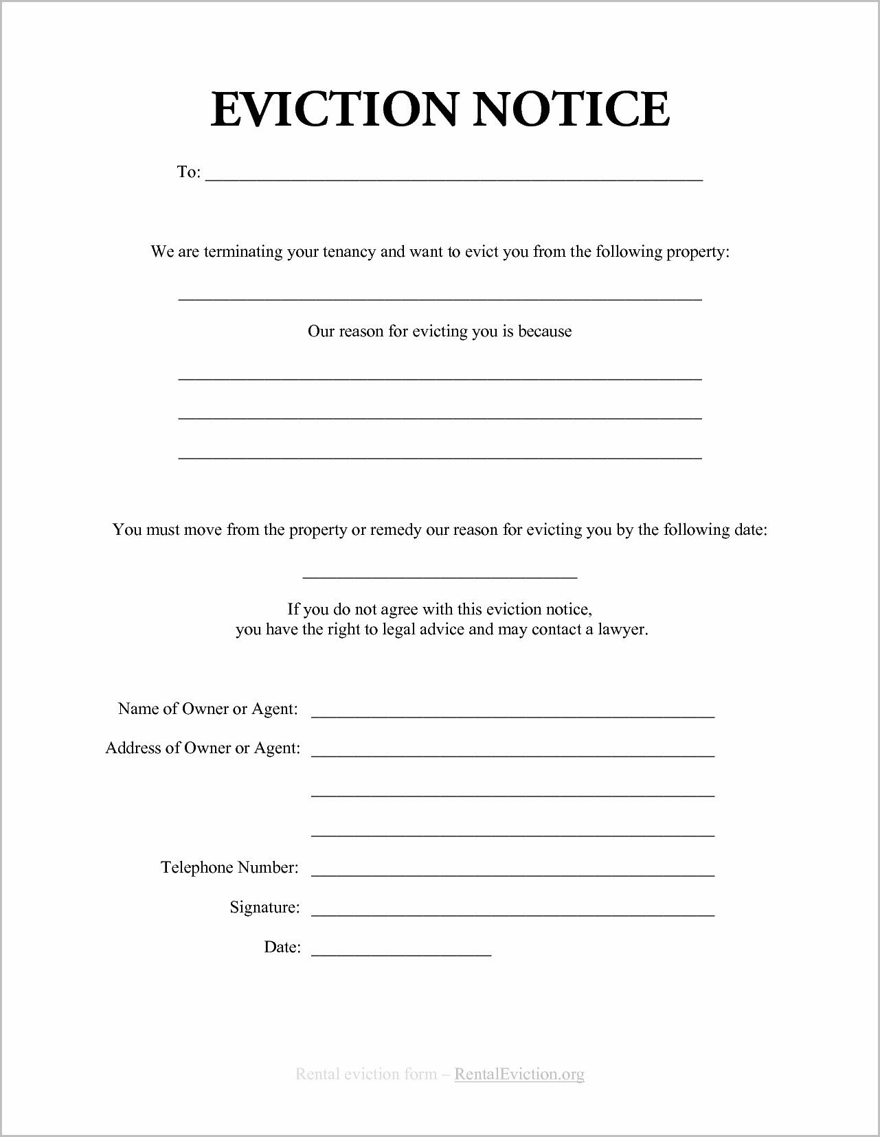 Notice Of Eviction Form Ontario   Forms   Eviction Notice, Resume - Free Printable Blank Eviction Notice