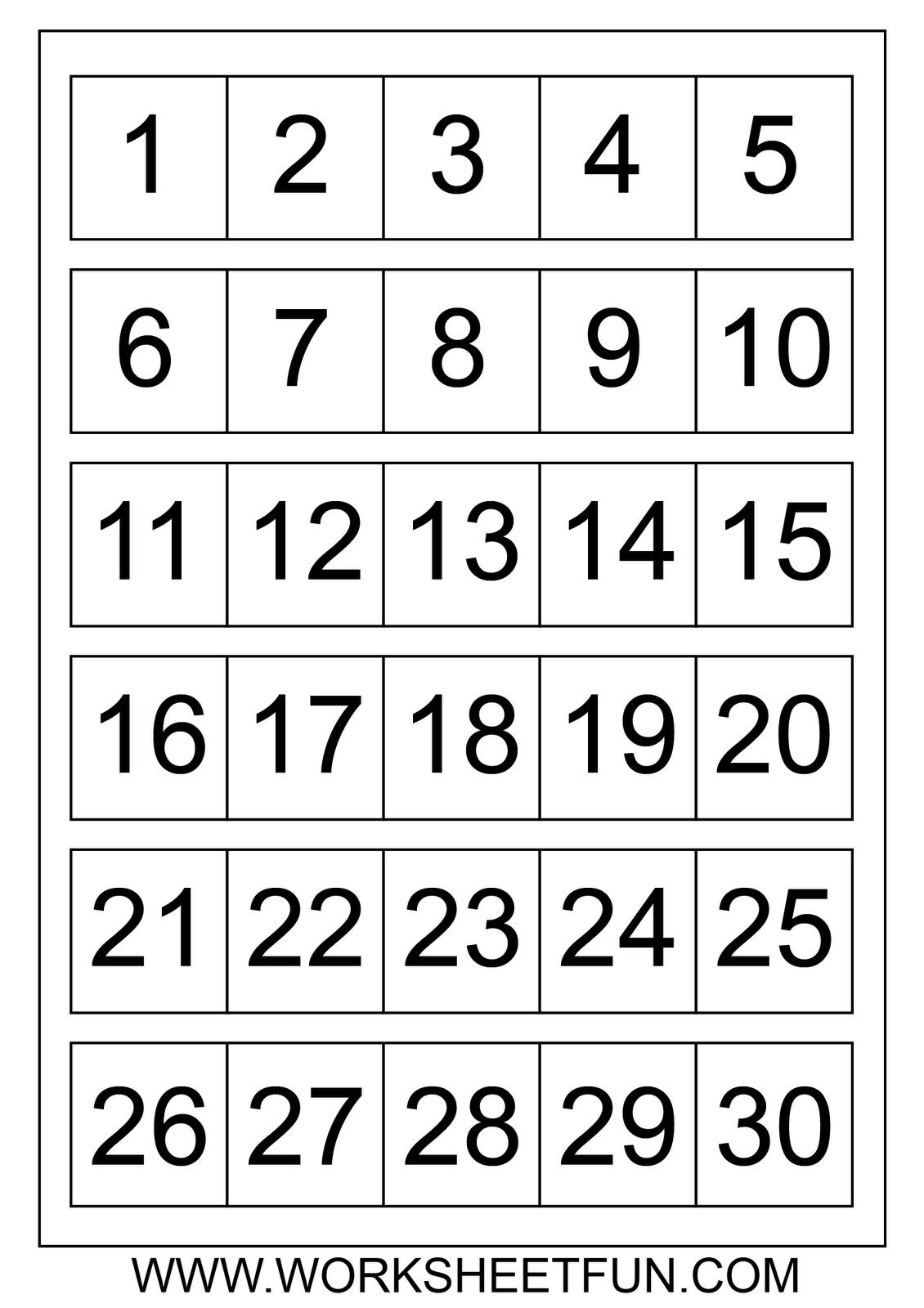 Number Chart 1 30 Number Charts 1 To 30 | Homeschool Preschool - Free Printable Numbers 1 20