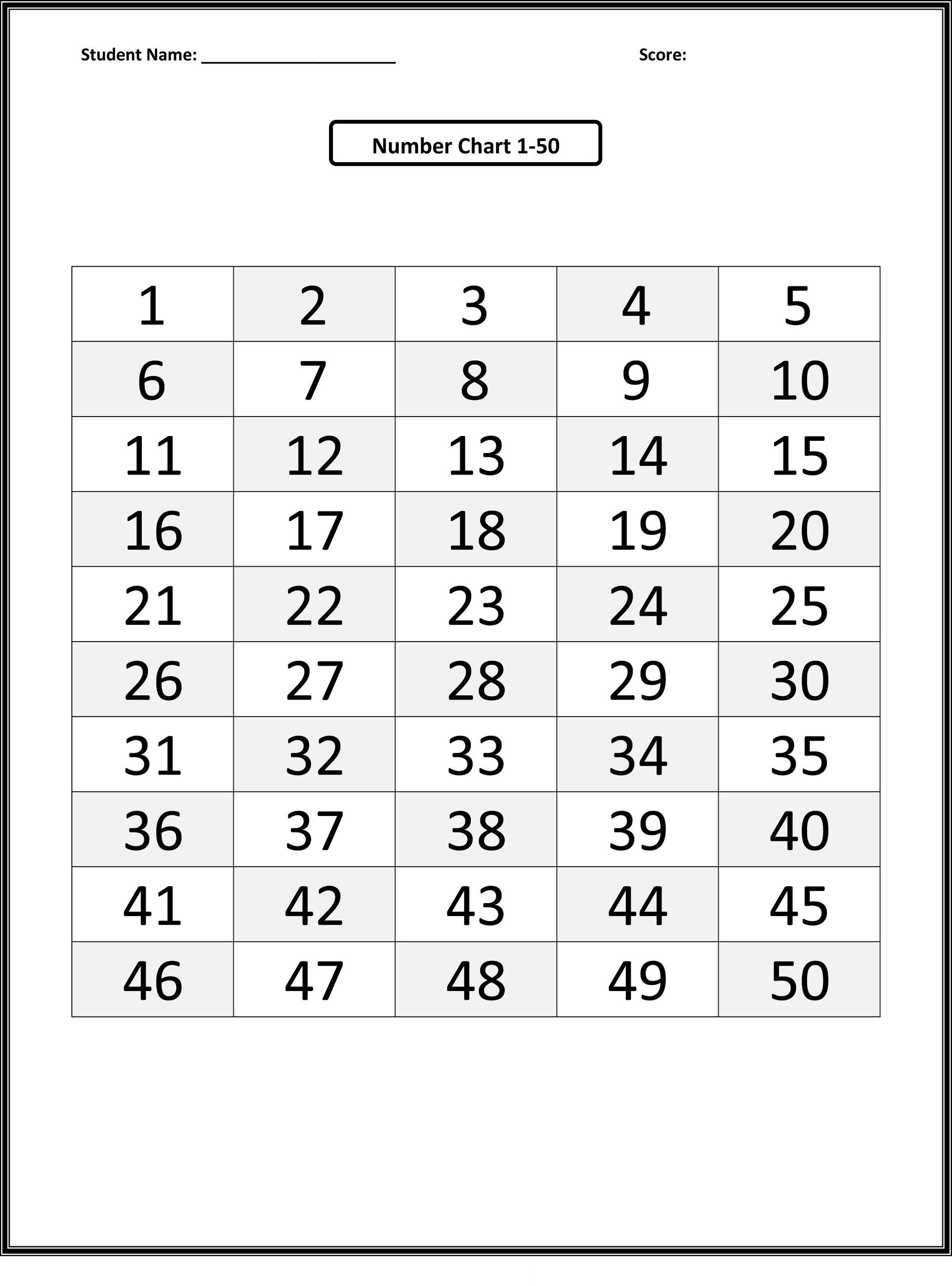 Number Charts 1-50 To Print | Activity Shelter - Free Printable Number Chart 1 50