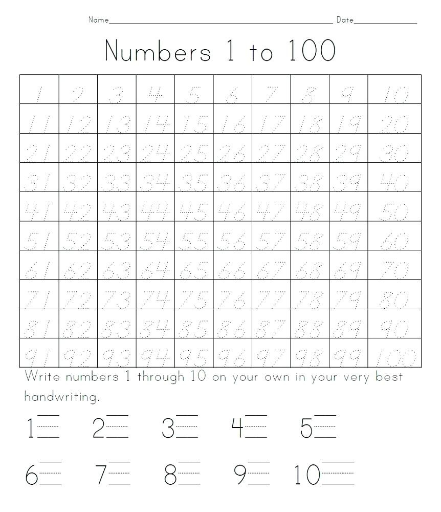 Number Tracing Worksheets 1 100 – Celanadalamwanita.club - Free Printable Number Worksheets 1 100