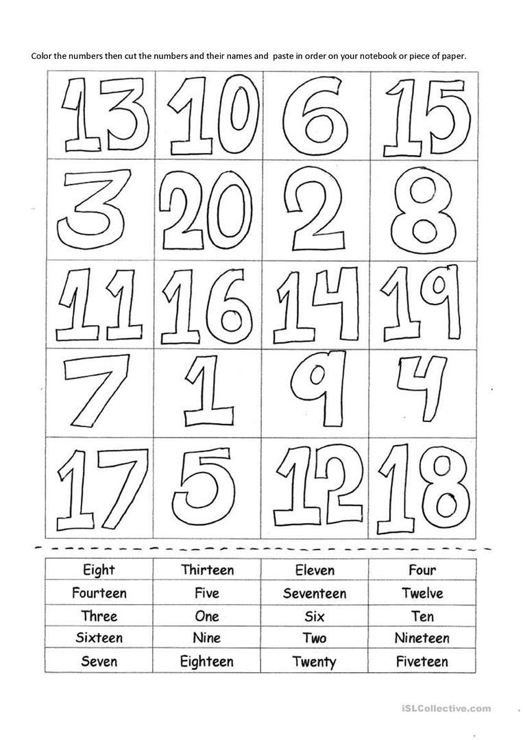 Numbers 1-20 Worksheet - Free Esl Printable Worksheets Madeteachers - Free Printable Numbers 1 20 Worksheets
