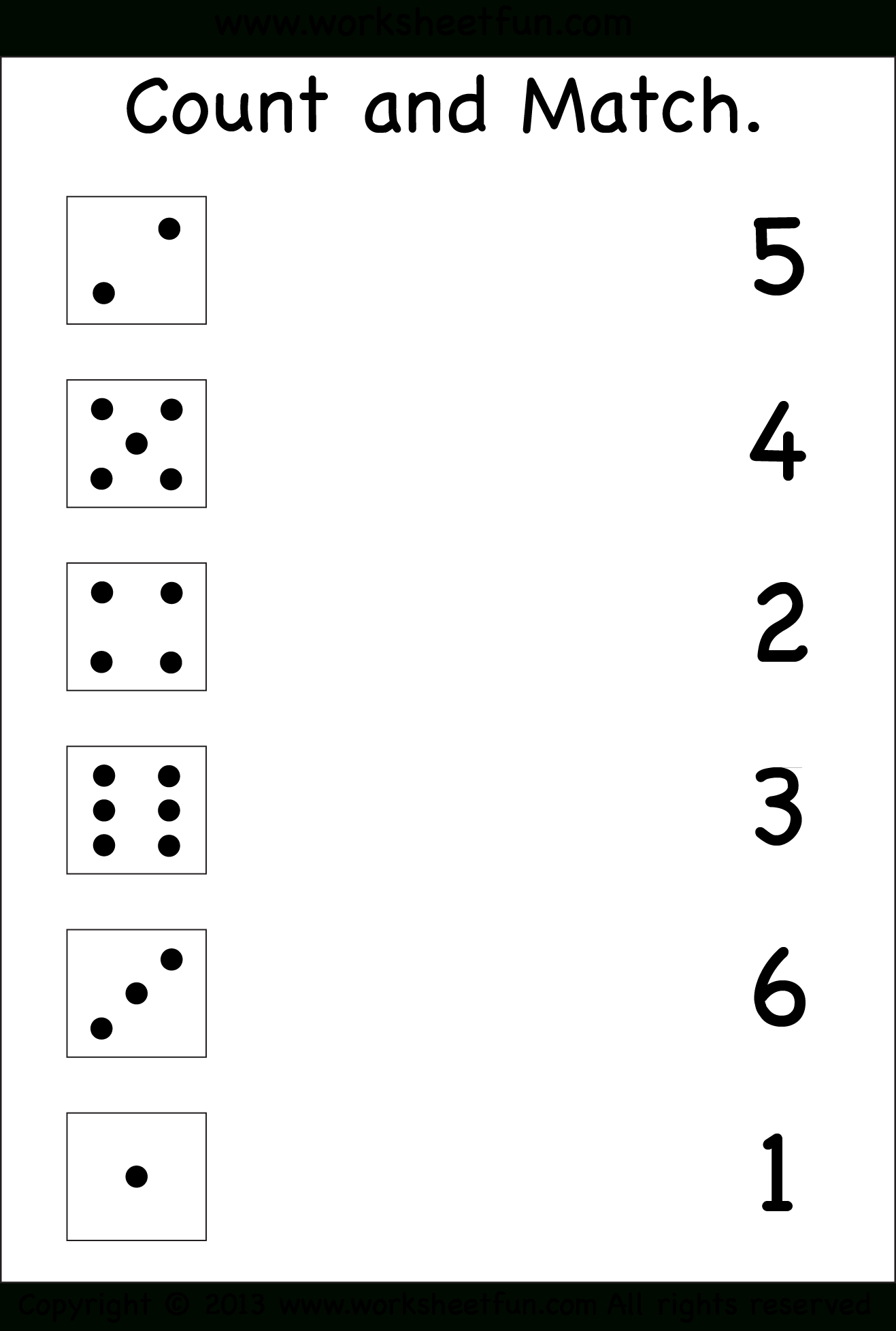 Numbers – Count And Match / Free Printable Worksheets – Worksheetfun - Free Printable Worksheets For Children