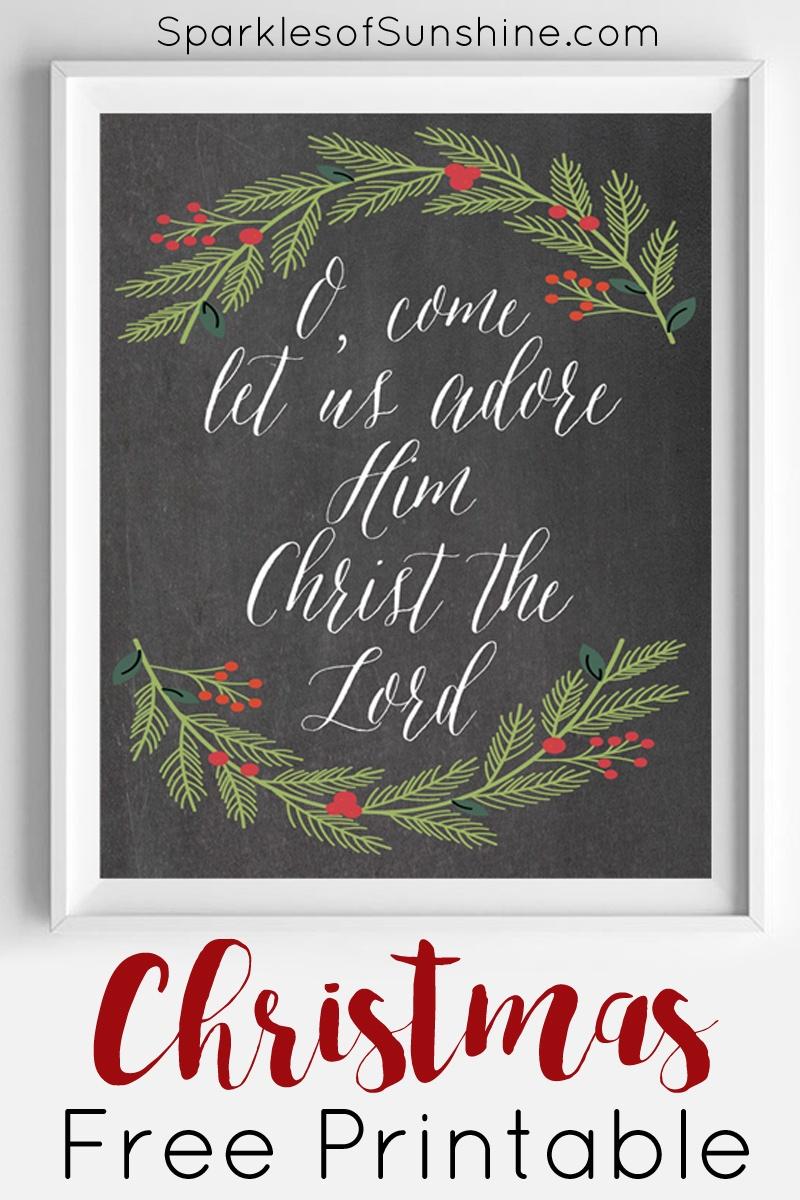 O, Come Let Us Adore Him Christmas Free Printable - Free Printable Christian Christmas Gift Tags
