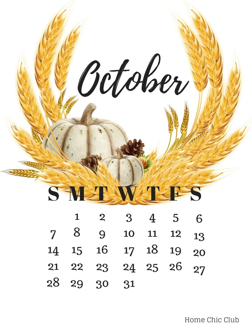 October 2018 Calendar And Free Fall Printables | Home Chic Club - Free October Printables