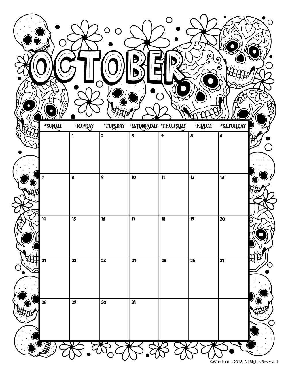 October 2018 Coloring Calendar Page | Products I Love | October - Free Printable October Coloring Sheets