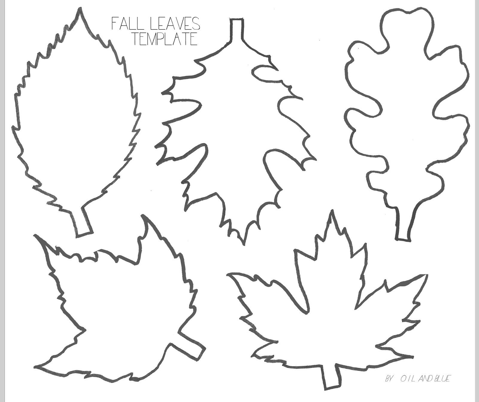 Oil And Blue: Fall Leaf Line Drawing Template - Free Printable - Fall Leaves Pictures Free Printable