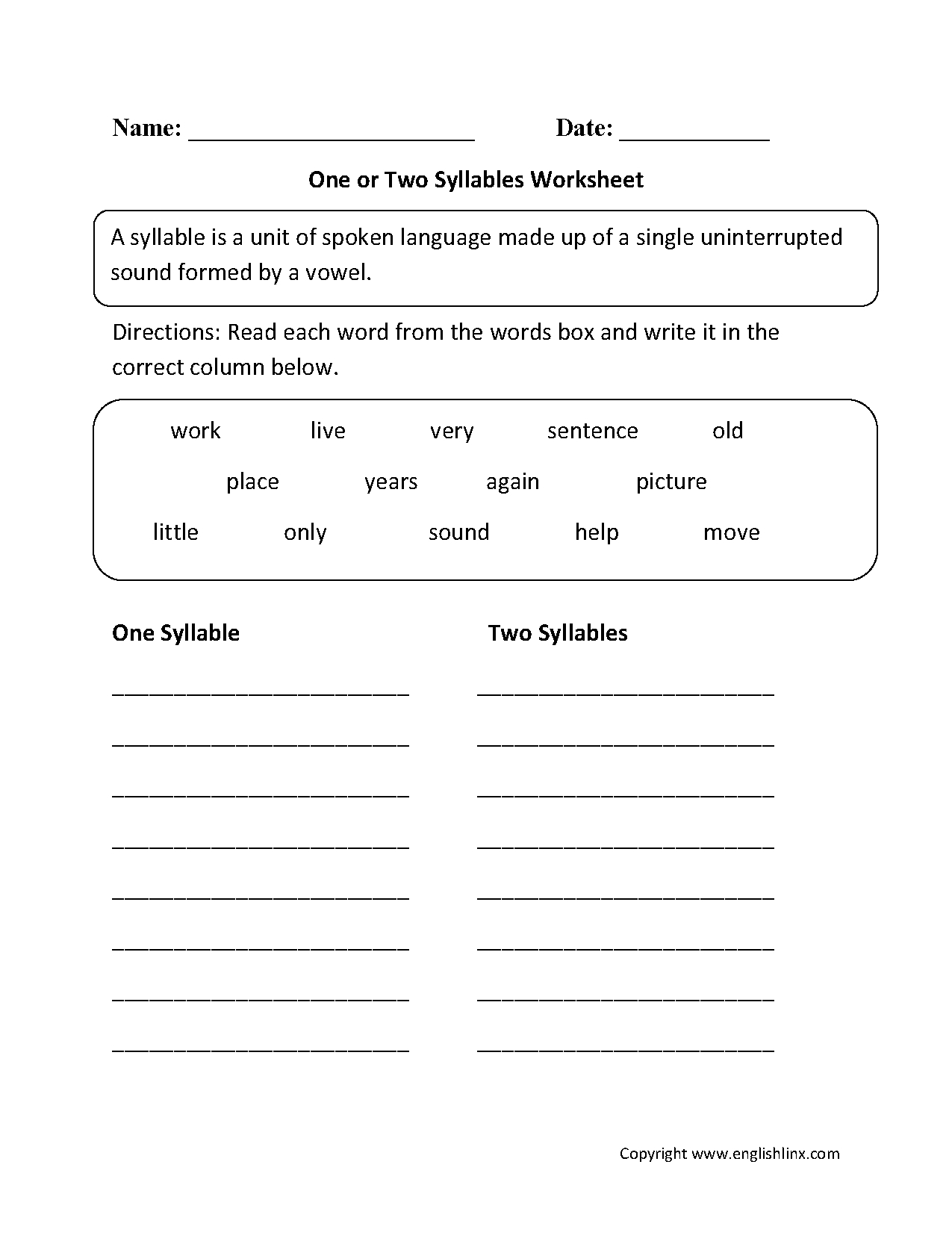 photo relating to Syllable Games Printable identify Absolutely free Printable Open up And Shut Syllable Worksheets Cost-free