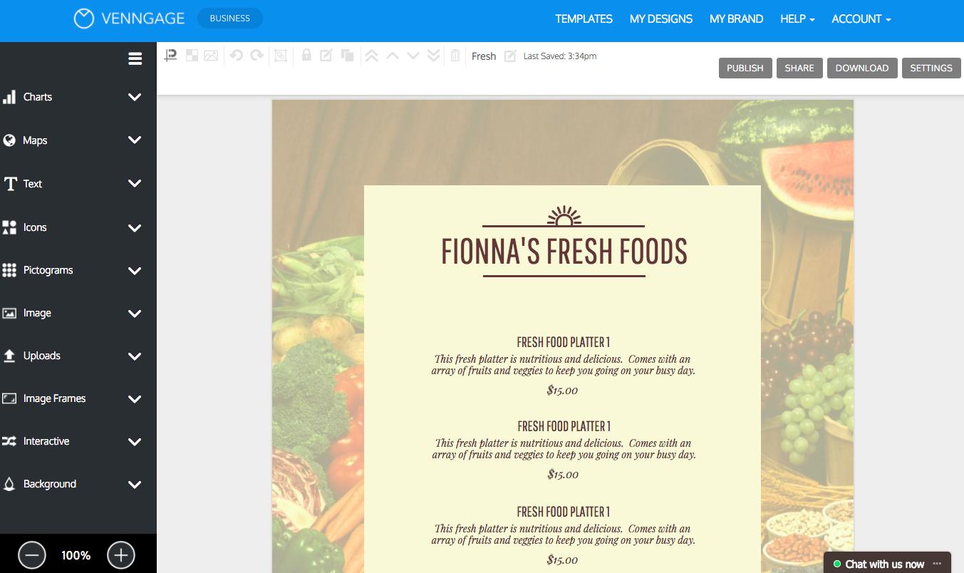 Online Menu Maker - Make A Menu With Venngage - Free Online Printable Menu Maker