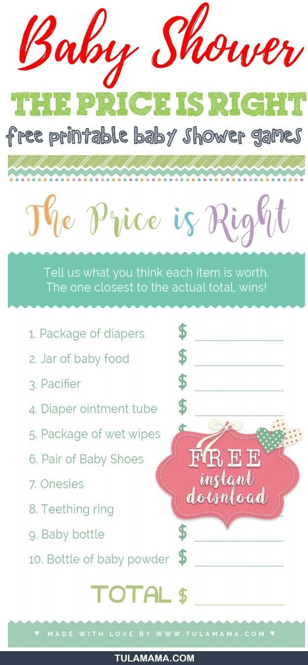 """Only The Easiest, Cutest """"price Is Right Baby Shower Game"""" Template - Free Printable Price Is Right Baby Shower Game"""