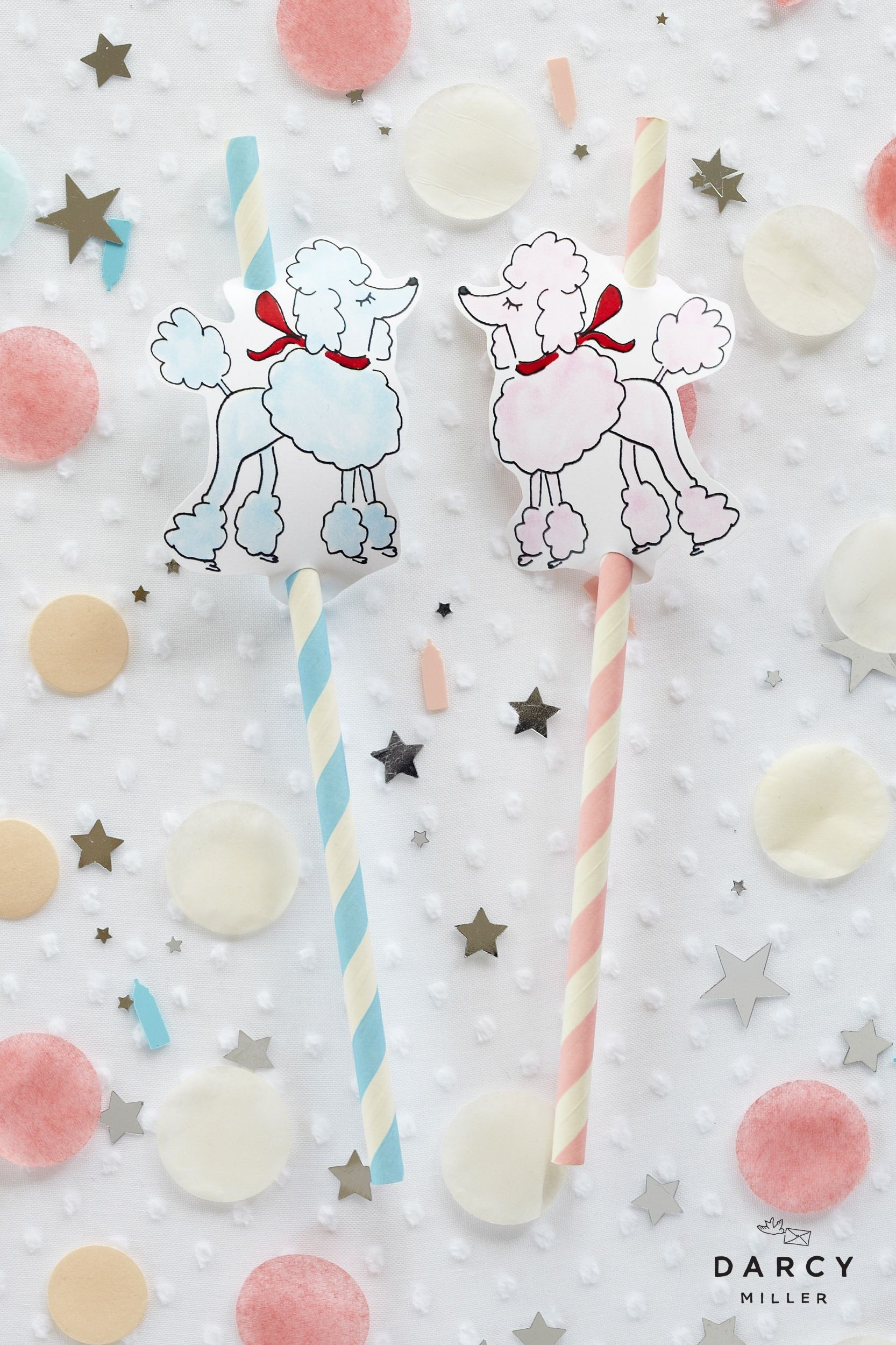 Oodles Of Poodles Straws | Birthday Parties | Sock Hop Party, Poodle - Free Printable Poodle Template