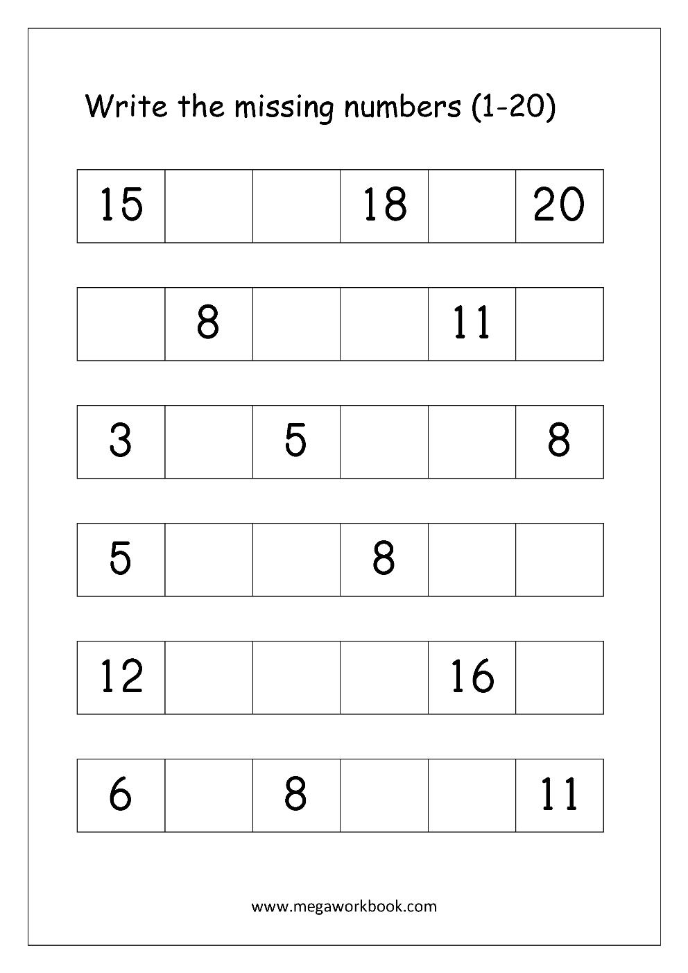 Ordering Numbers Worksheets, Missing Numbers, What Comes Before And - Free Printable Numbers 1 20 Worksheets