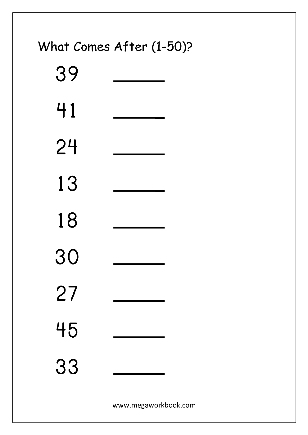 Ordering Numbers Worksheets, Missing Numbers, What Comes Before And - Free Printable Tracing Numbers 1 50