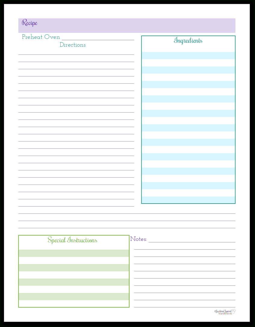 Organize Your Recipes With These Handy Recipe Page Printables - Free Printable Recipe Pages