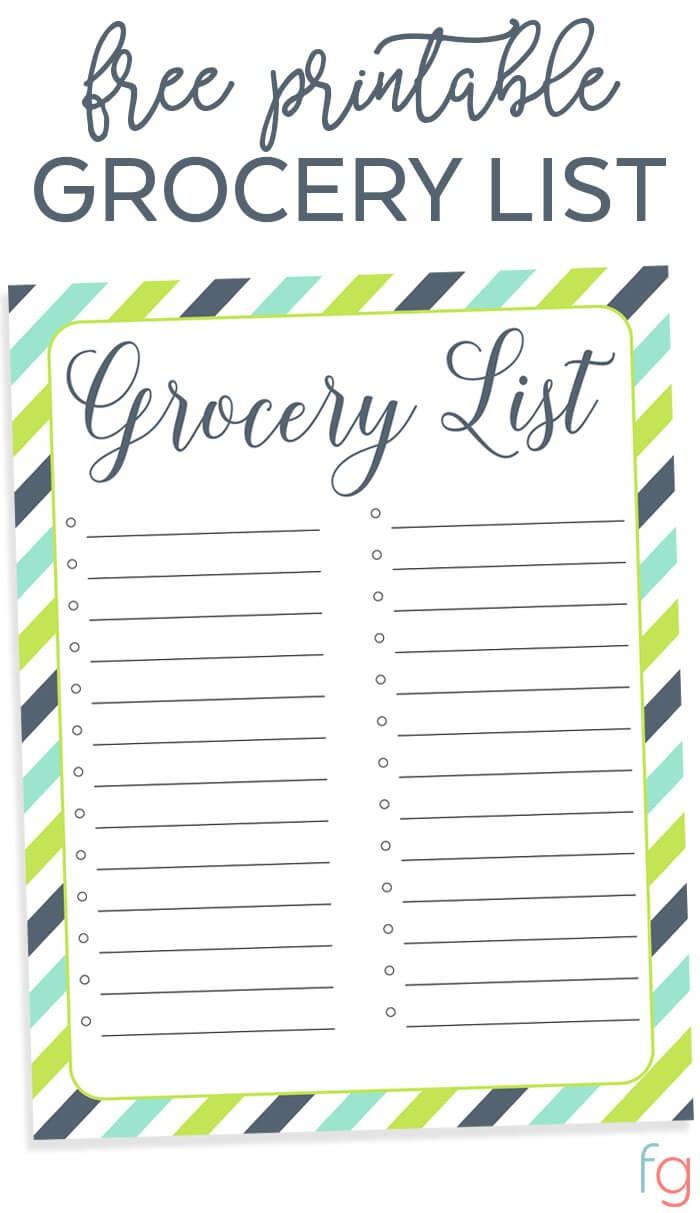 Organizing Grocery List - Free Printable - Free Printable Grocery List