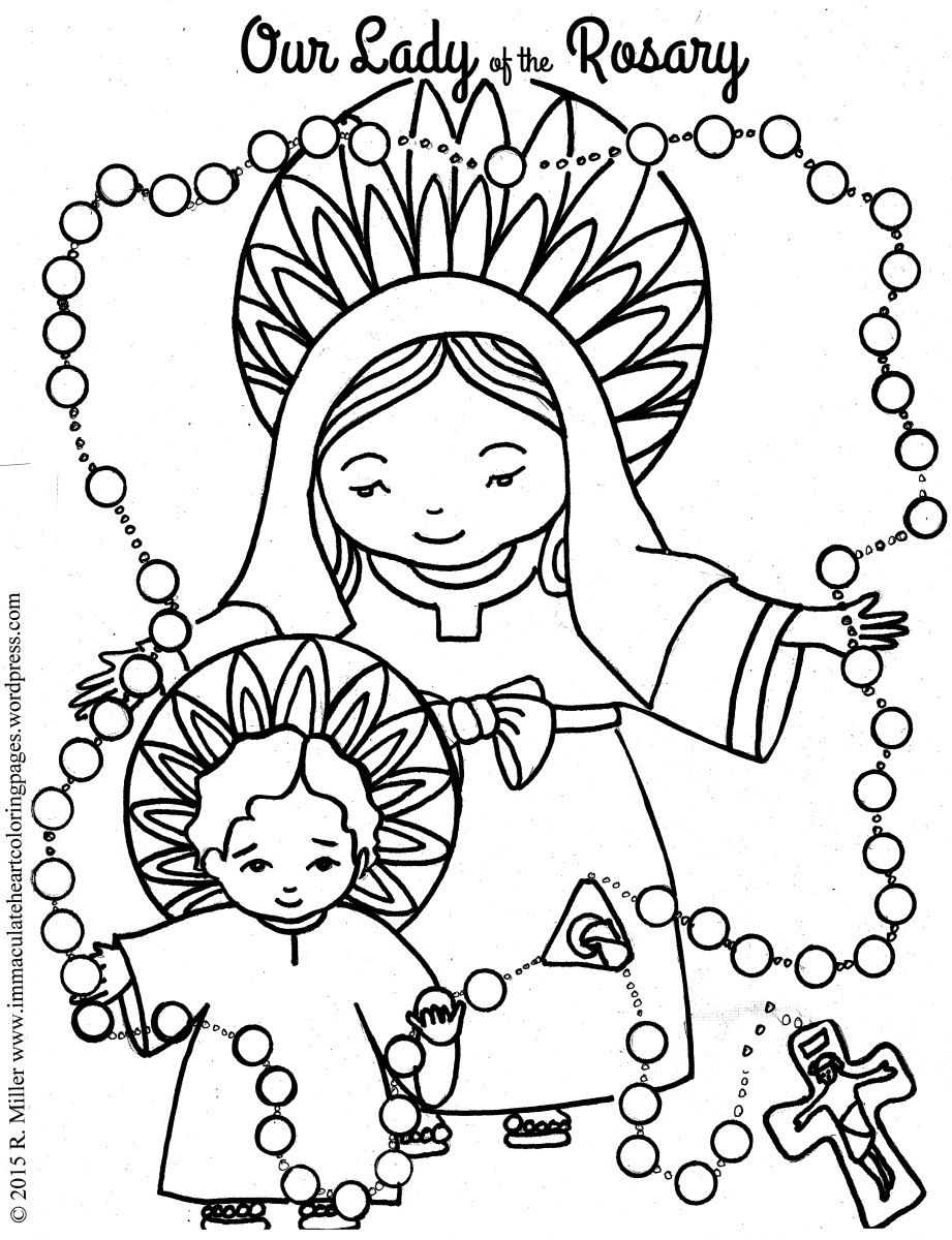 Our Lady Of The Rosary Coloring Page | Coloring Pages | Color - Free Catholic Coloring Pages Printables