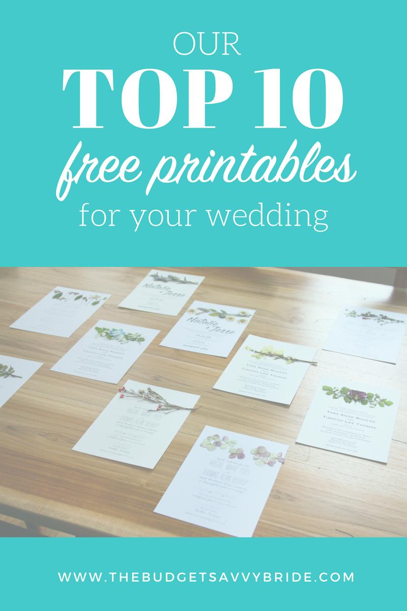 Our Top Ten Free Wedding Printables - Free Wedding Printables