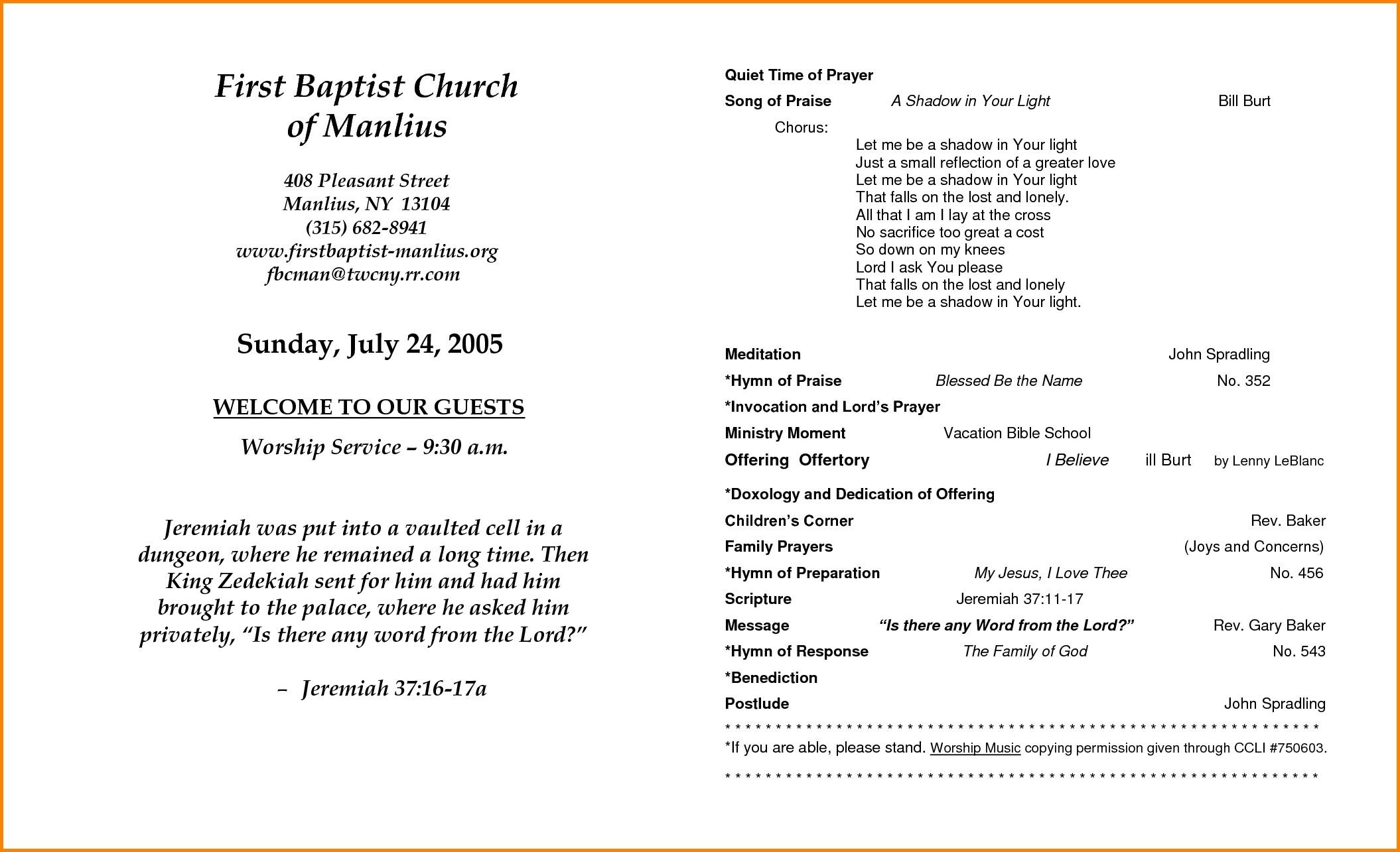 Outline For Church Anniversary Program | Lazine - Free Printable Church Program Templates