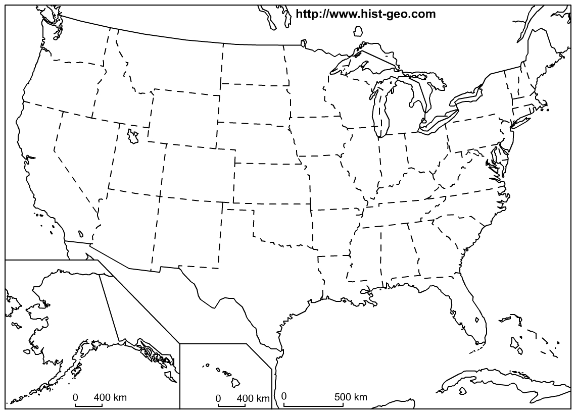 Outline Map Of The 50 Us States | Social Studies | Geography Lessons - Free Printable Blank Map Of The United States Of America