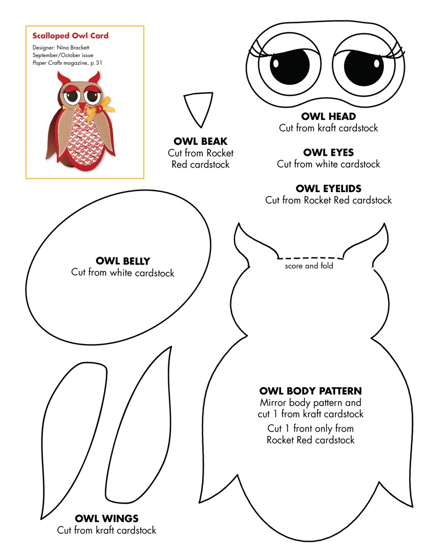 Owl Paper Craft Template – Best Cool Craft Ideas - Free Owl Printable Template