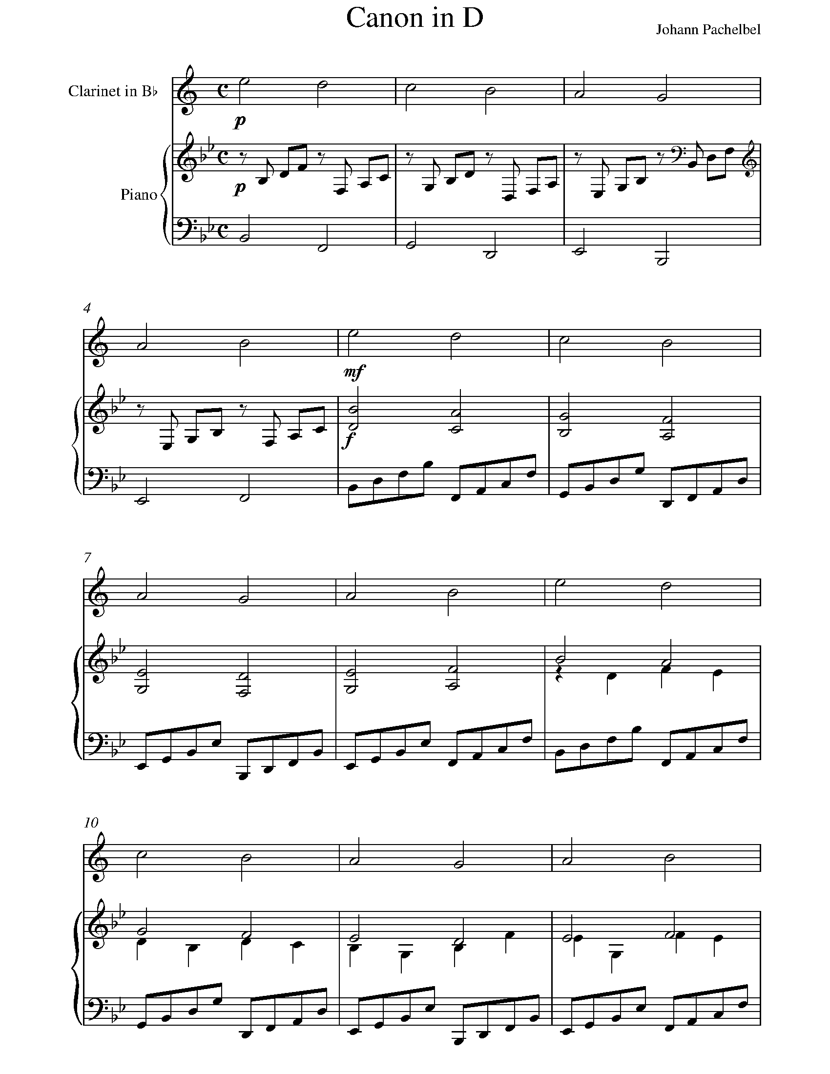 Pachelbel - Canon In D Sheet Music For Clarinet - 8Notes - Canon In D Piano Sheet Music Free Printable