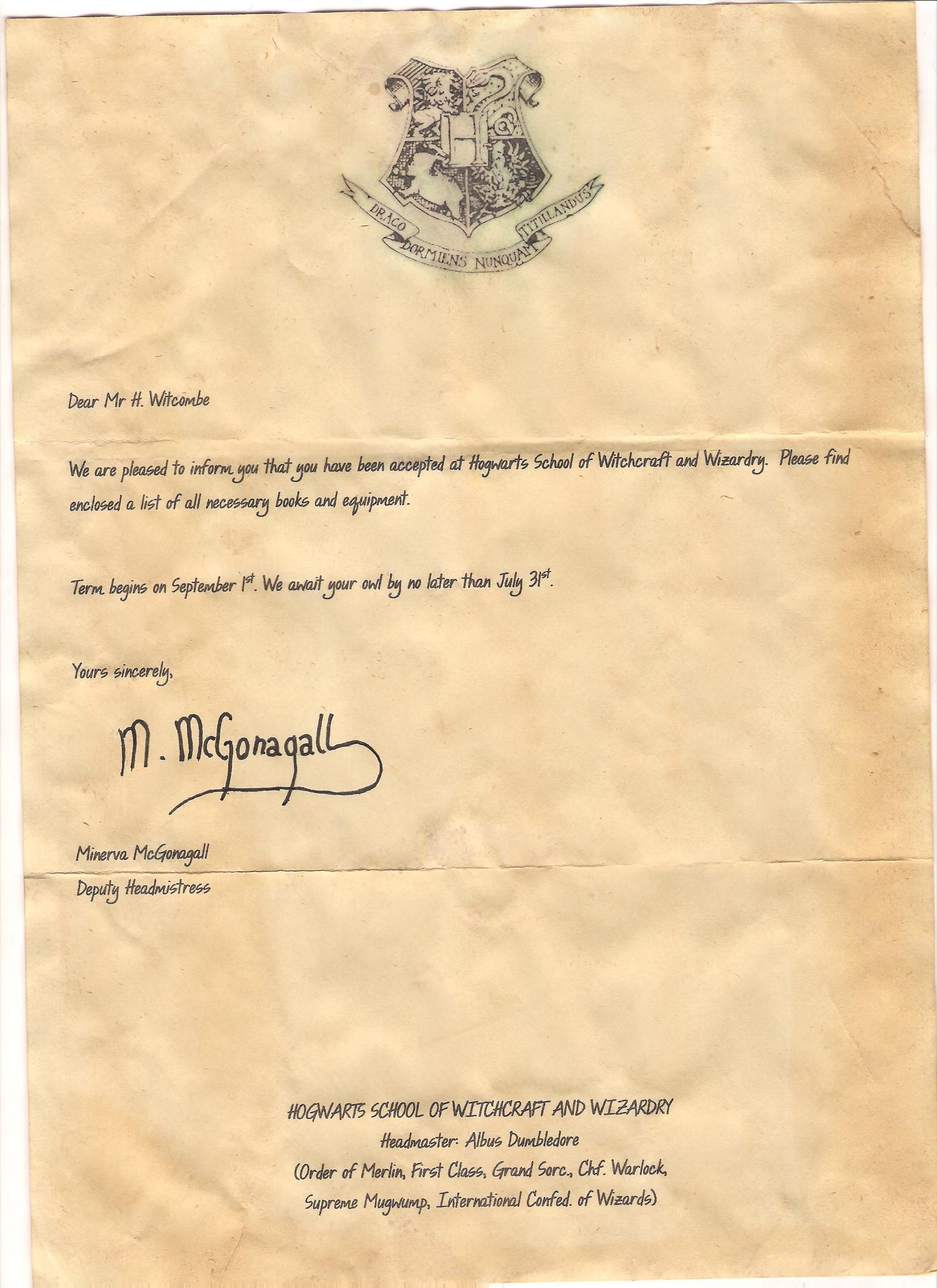 Page One Of The Acceptance Letter From Harry Potter That Hayden - Hogwarts Acceptance Letter Template Free Printable