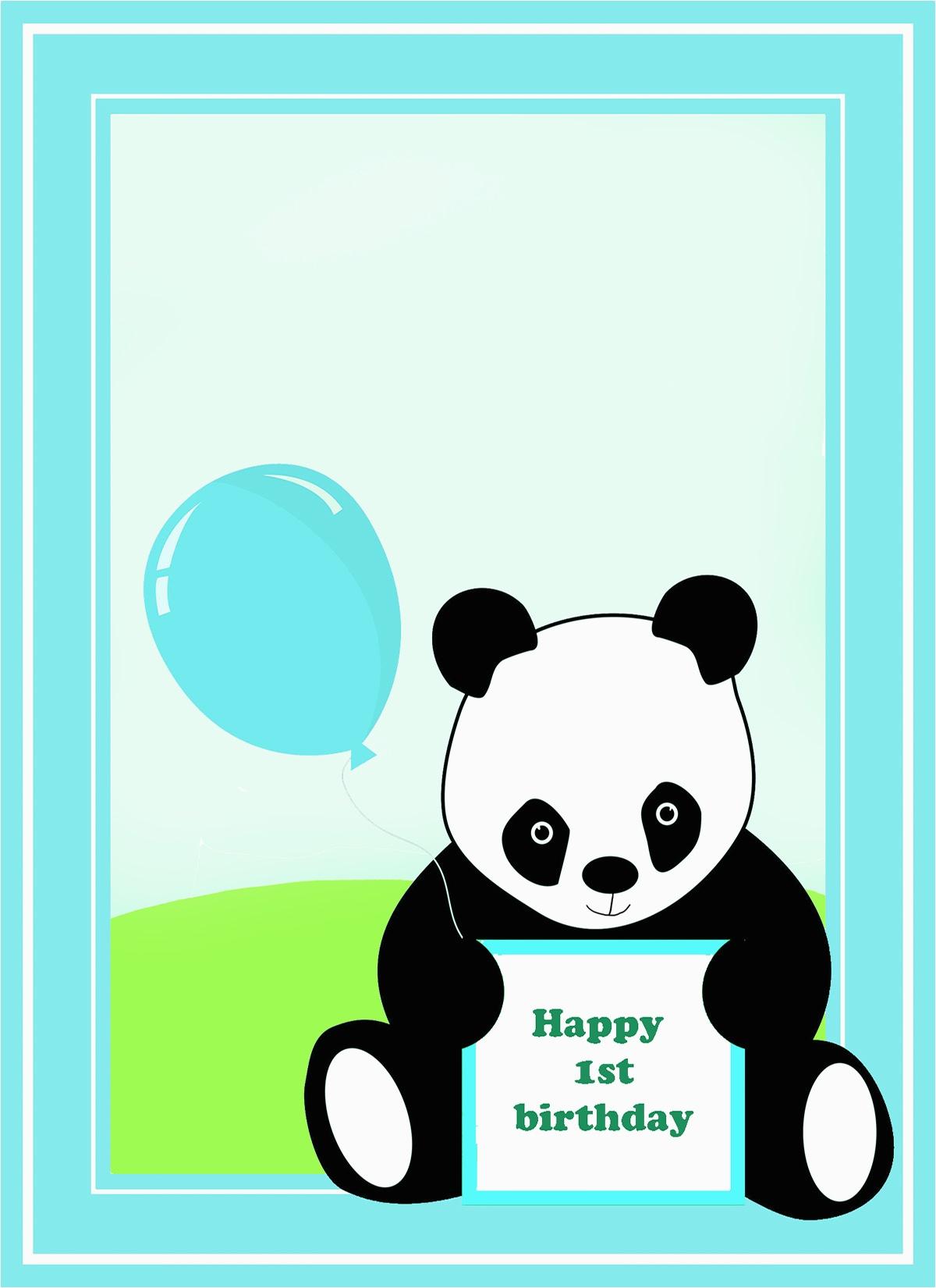 Panda Birthday Card Template | Birthdaybuzz - Panda Bear Invitations - Panda Bear Invitations Free Printable