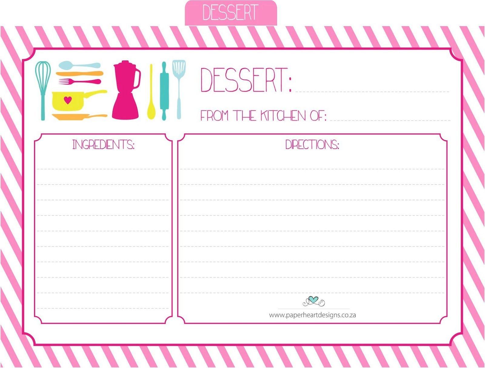 Paper Heart Designs - Free Printable Recipe Cards - Dessert - Free Printable Dessert Recipes