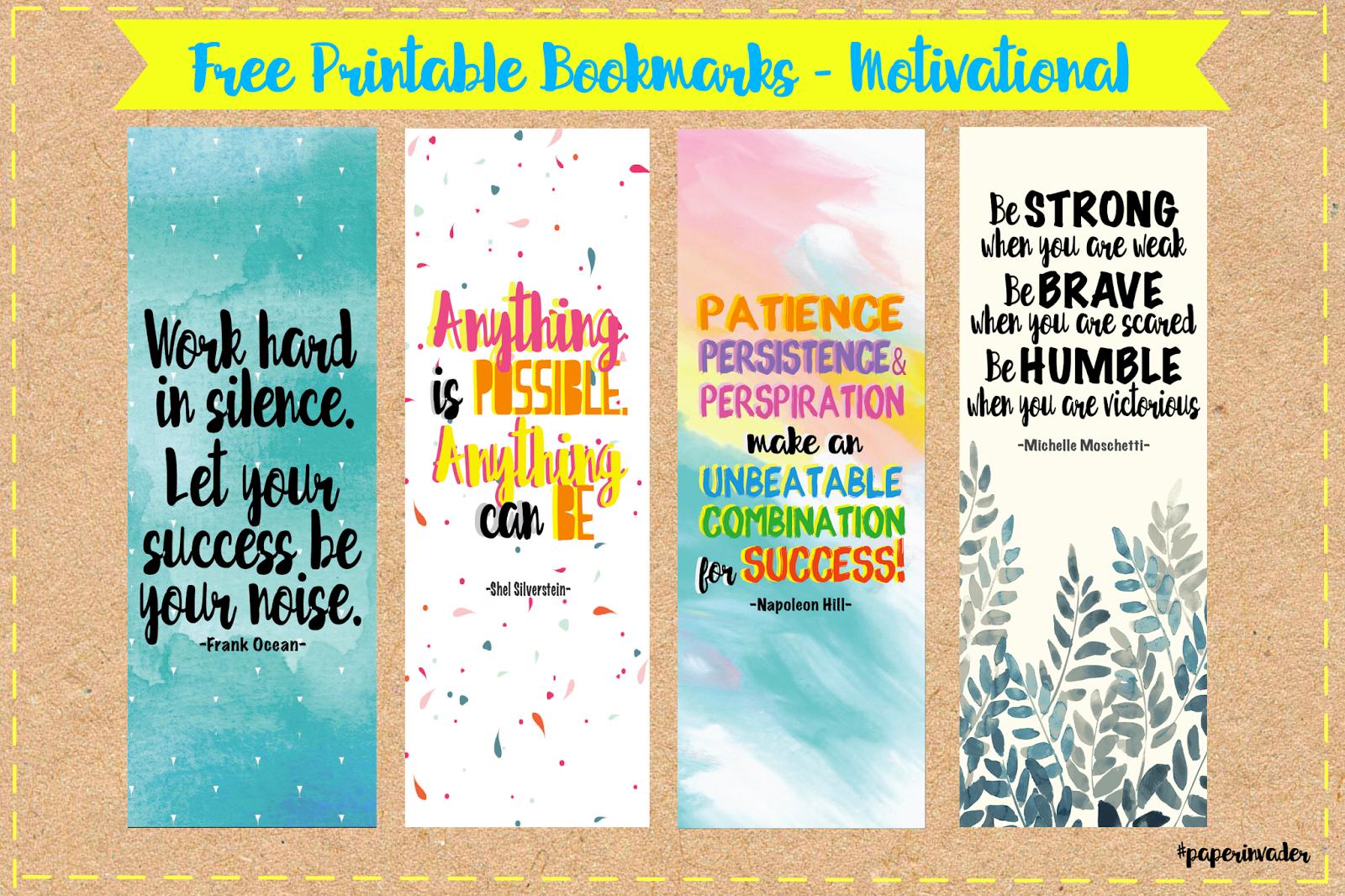 Paper Invader: Free Printable Bookmarks - Motivational - Free Printable Book Marks