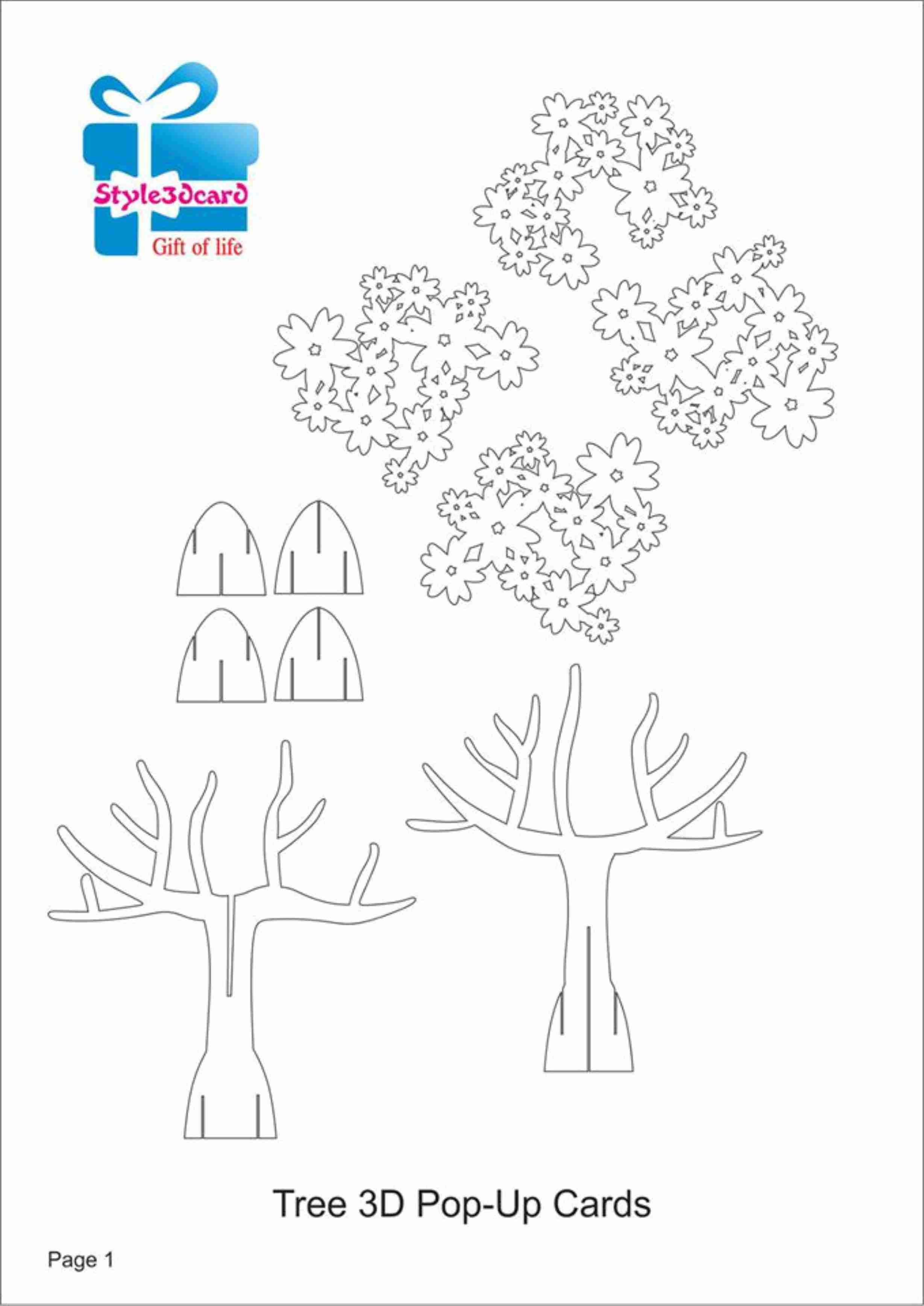 Papercraft Tree Tree 3D Pop Up Card Kirigami Pattern 1 - Printable - Kirigami Free Printable Patterns