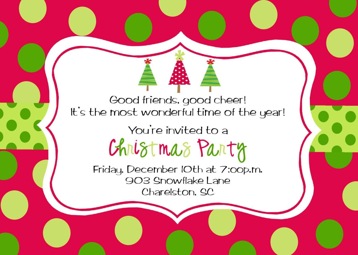 Party Invitation Template Online Free | It's Christmas Time - Free Online Printable Christmas Party Invitations