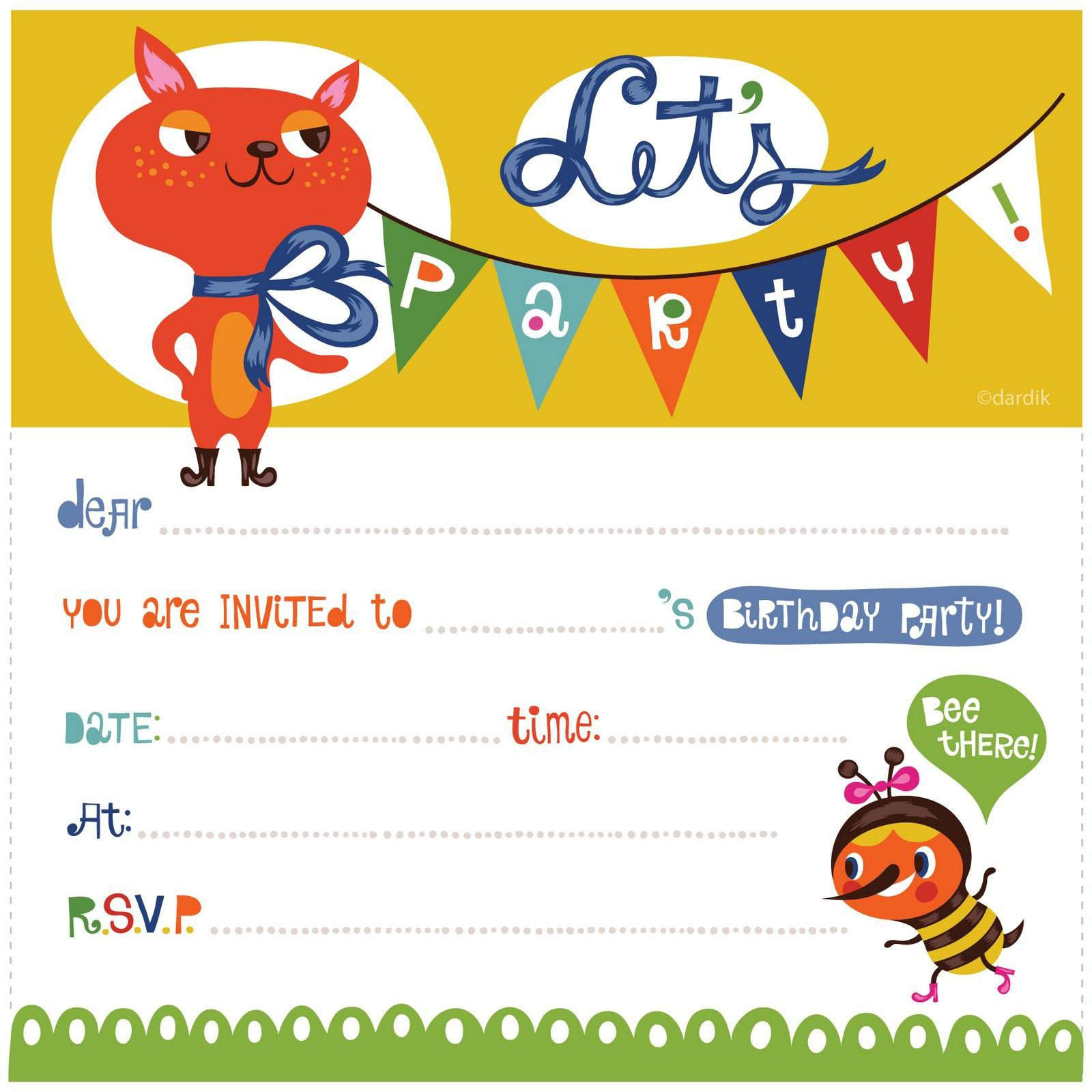 Party Invite Printables - Kaza.psstech.co - Free Printable Birthday Invitation Cards Templates