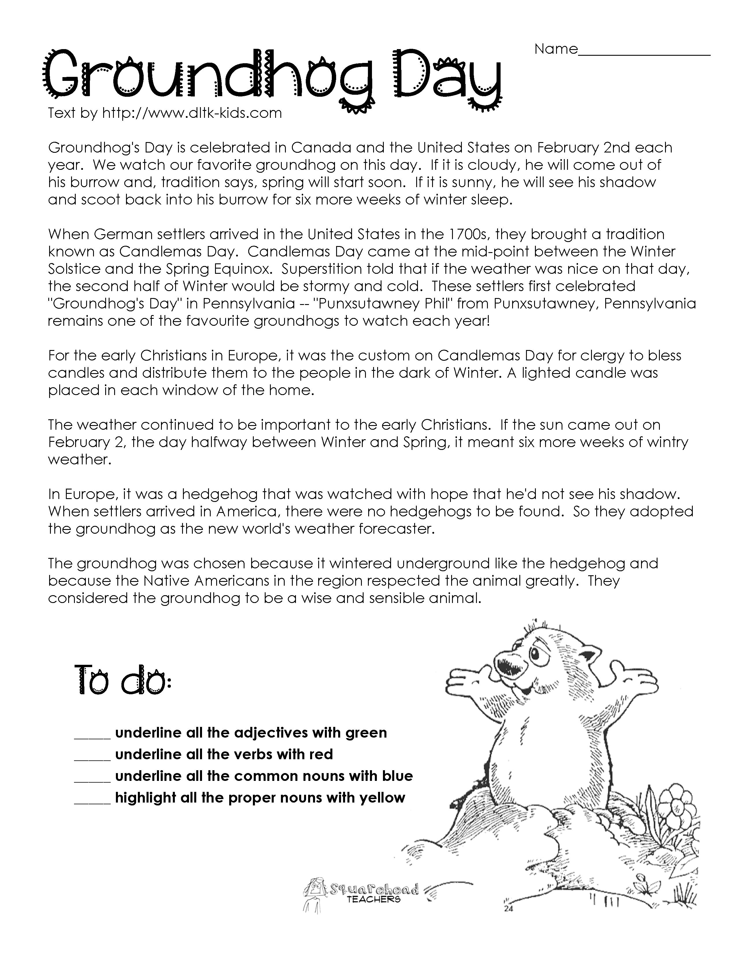 Passage | Teaching | Groundhog Day Activities, Groundhog Day, Parts - Free Printable Groundhog Day Reading Comprehension Worksheets