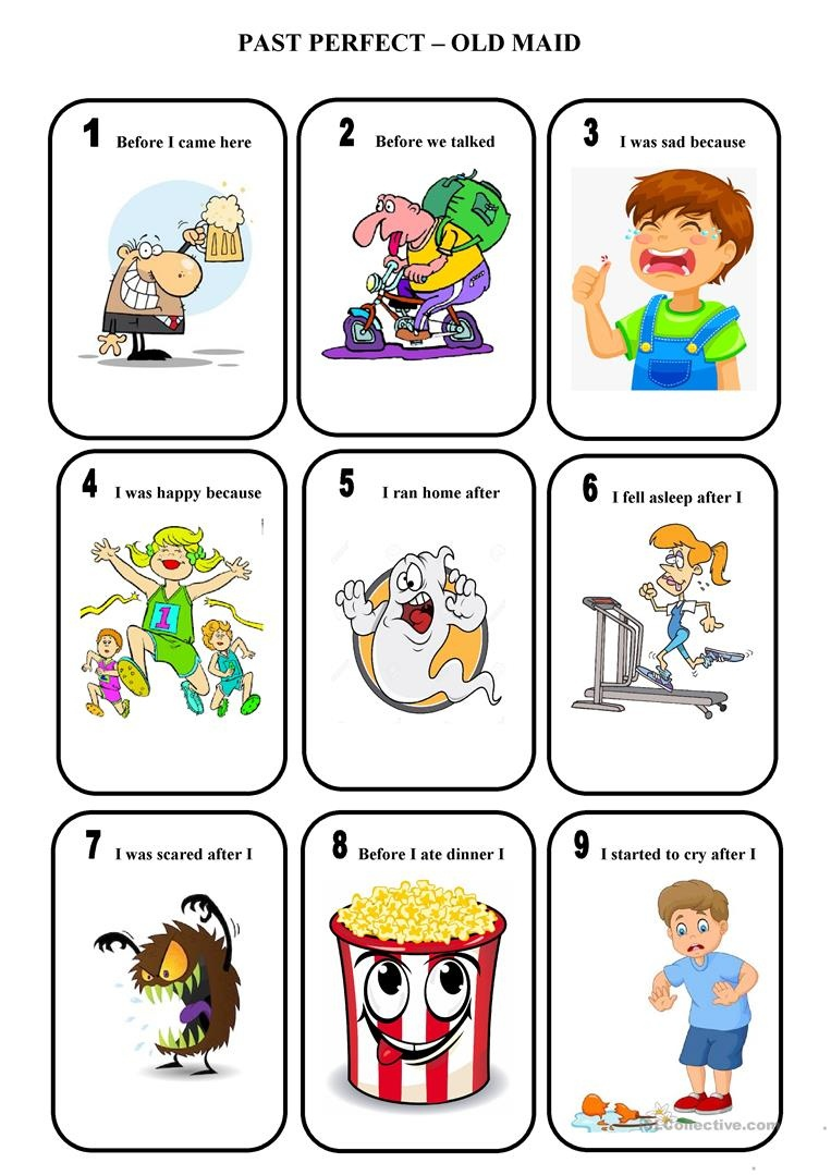 Past Perfect - Old Maid - A Game Worksheet - Free Esl Printable - Free Printable Old Maid Card Game
