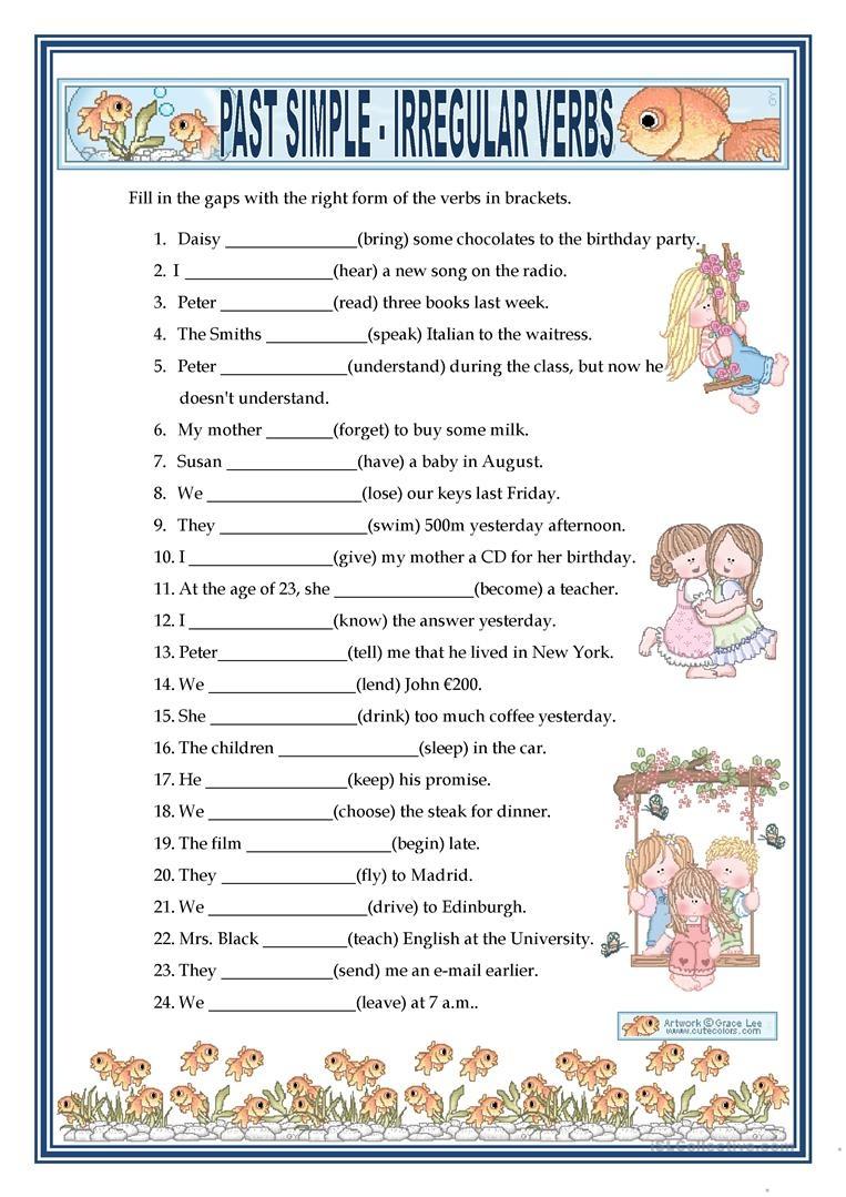 Past Simple - Irregular Verbs Worksheet - Free Esl Printable - Free Printable Verb Worksheets